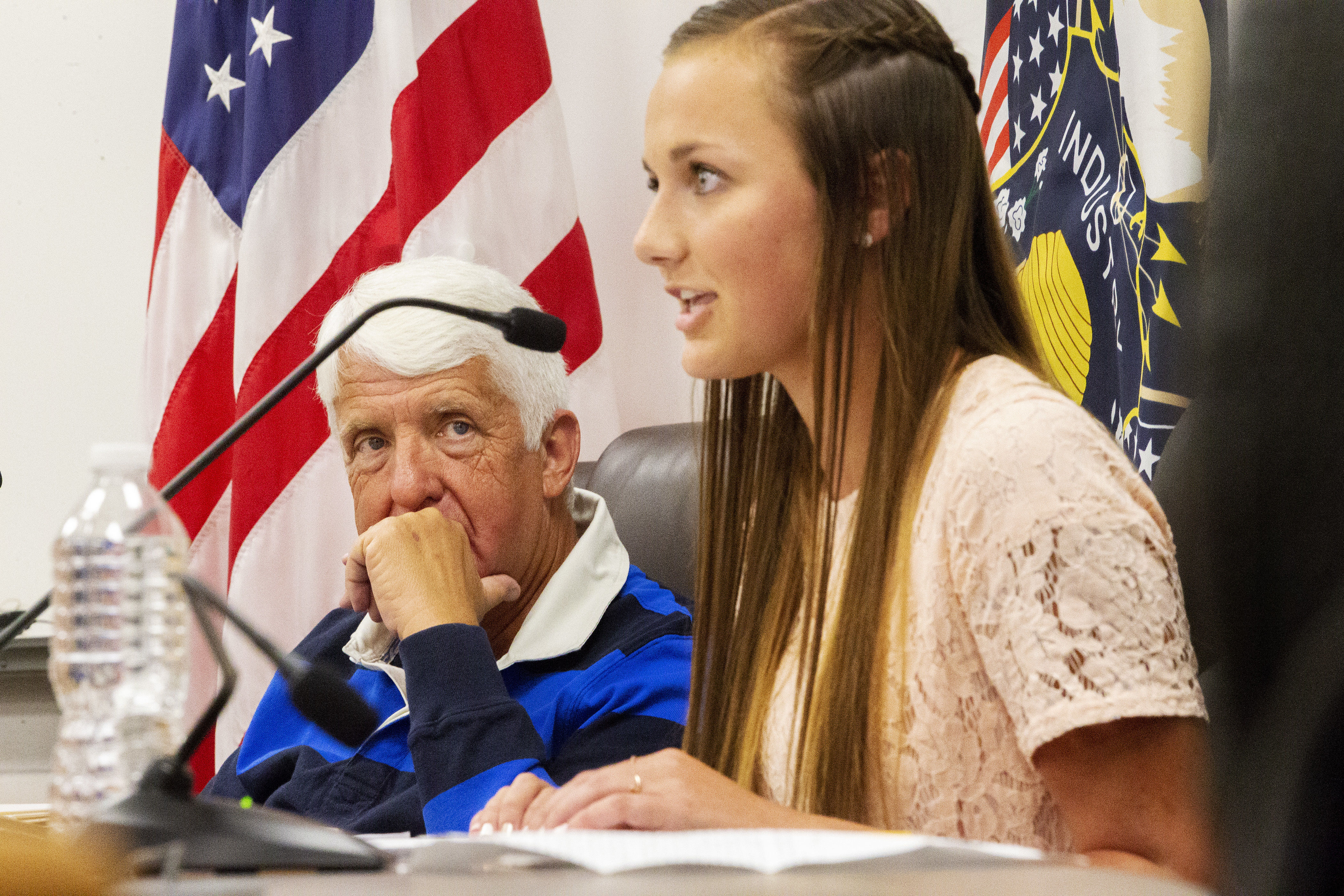 Rep. Rob Bishop, R-Utah, listens to Union High School student Annalee Birchell during a field hearing on energy and education at the Roosevelt school on Wednesday, Aug. 29, 2018.
