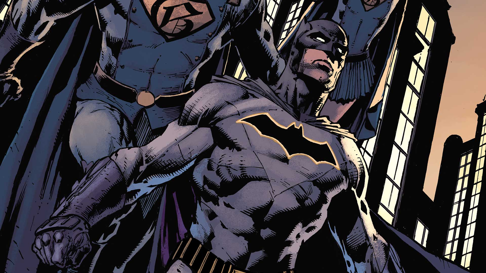 Cropped cover of Batman #2 showing Batman clenching his fists and showing his chest logo