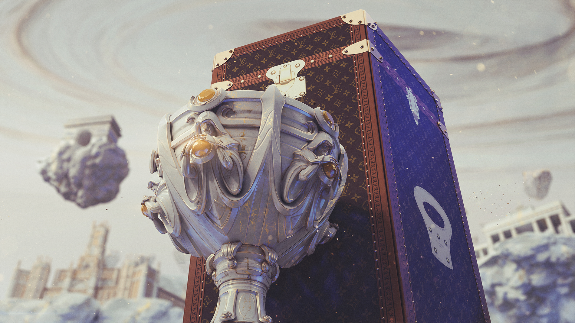 The Worlds trophy sits in front of a Louis Vuitton trunk