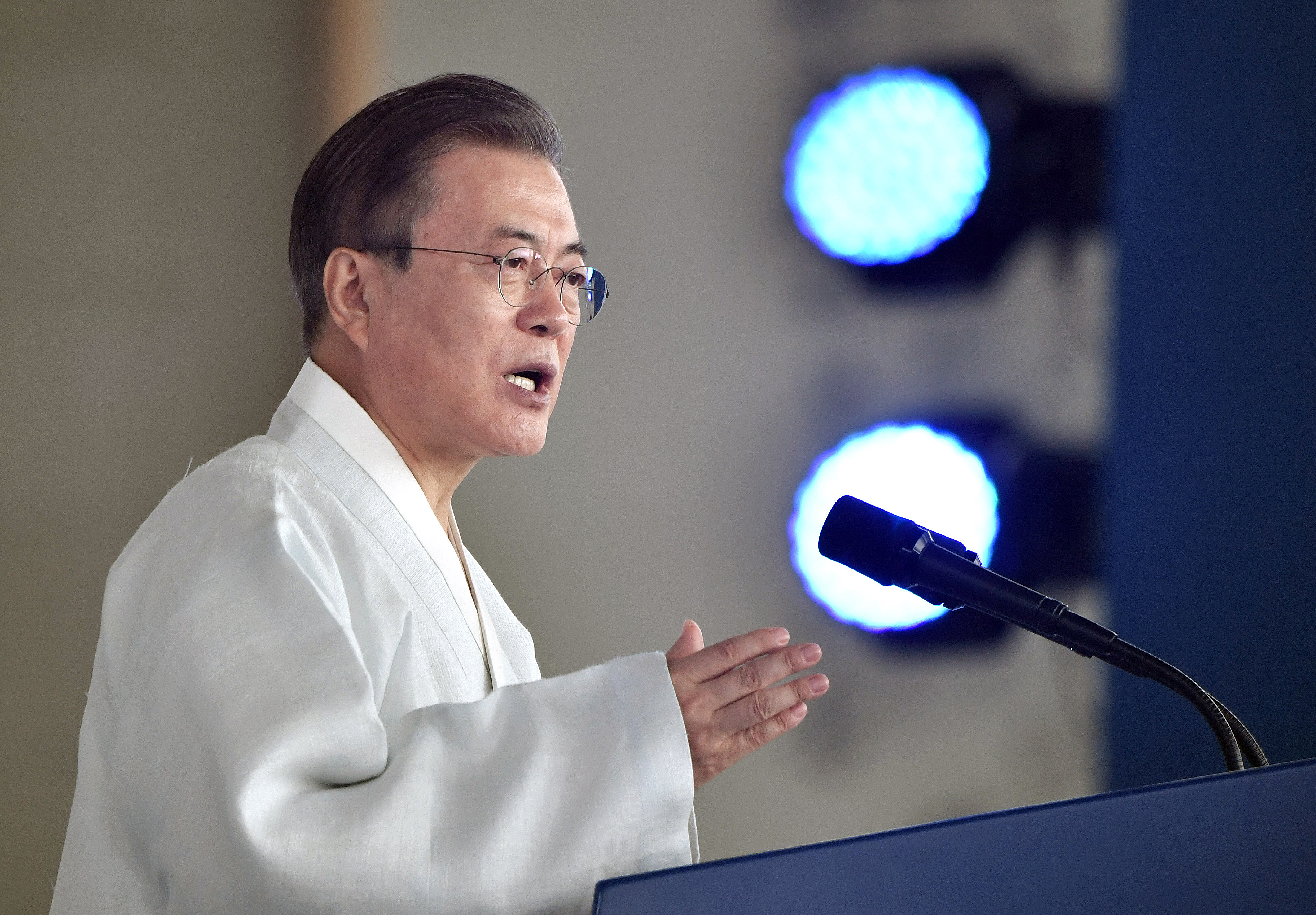 South Korean President Moon Jae-in at a podium delivering his speech.