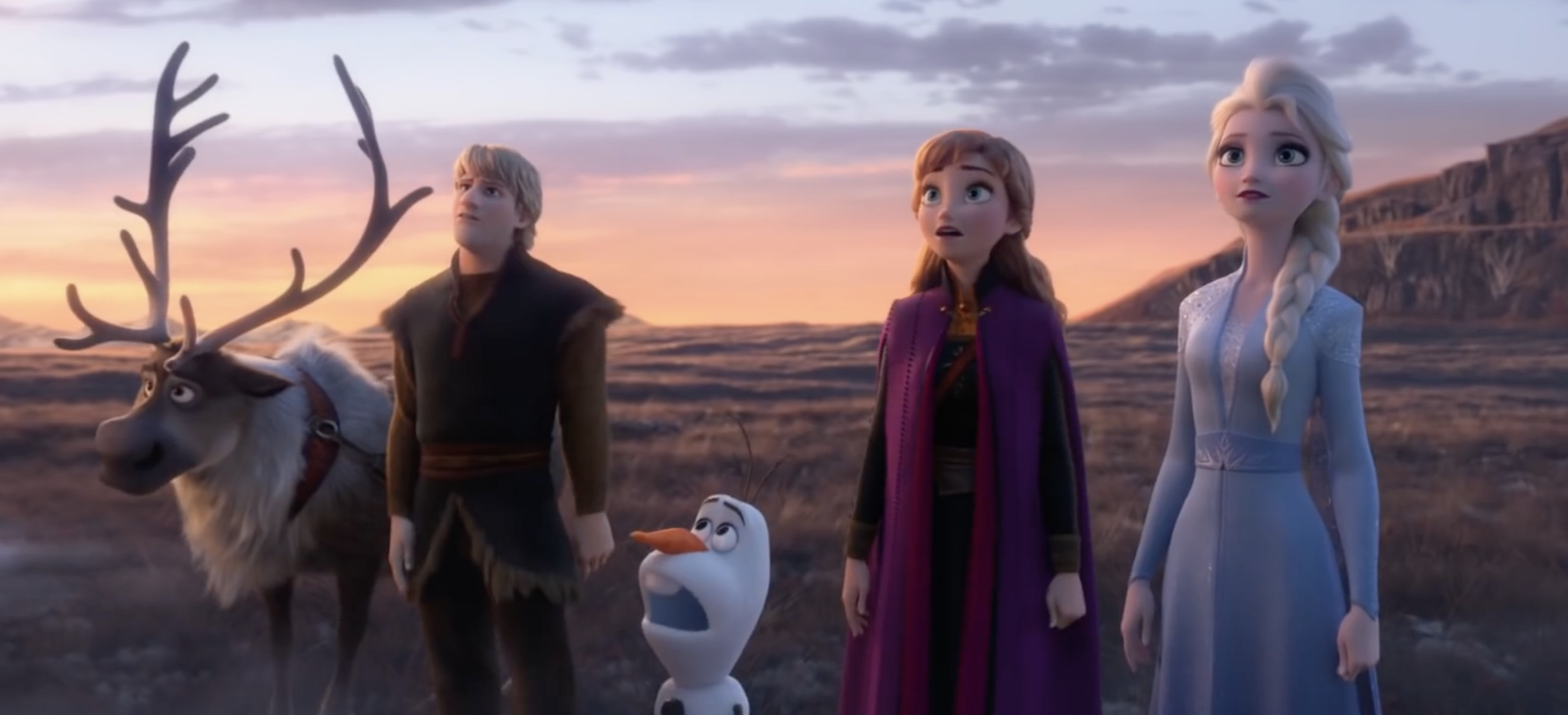 sven, kristoff, olaf, anna and elsa stare in awe
