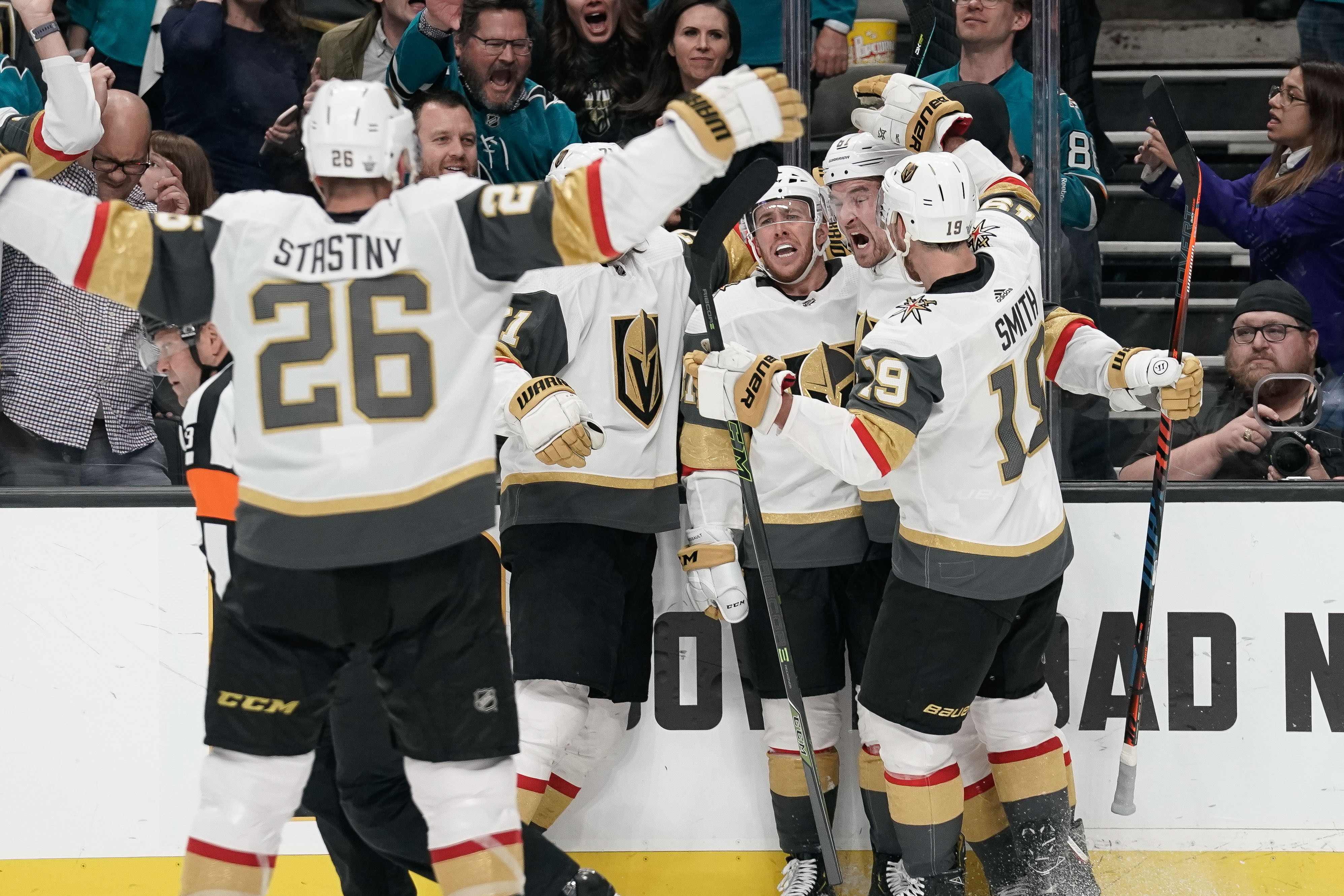 Vegas Golden Knights center Paul Stastny (26) heads towards teammates to celebrate after a game-tying goal against the San Jose Sharks during the third period in game seven of the first round of the 2019 Stanley Cup Playoffs at SAP Center at San Jose.