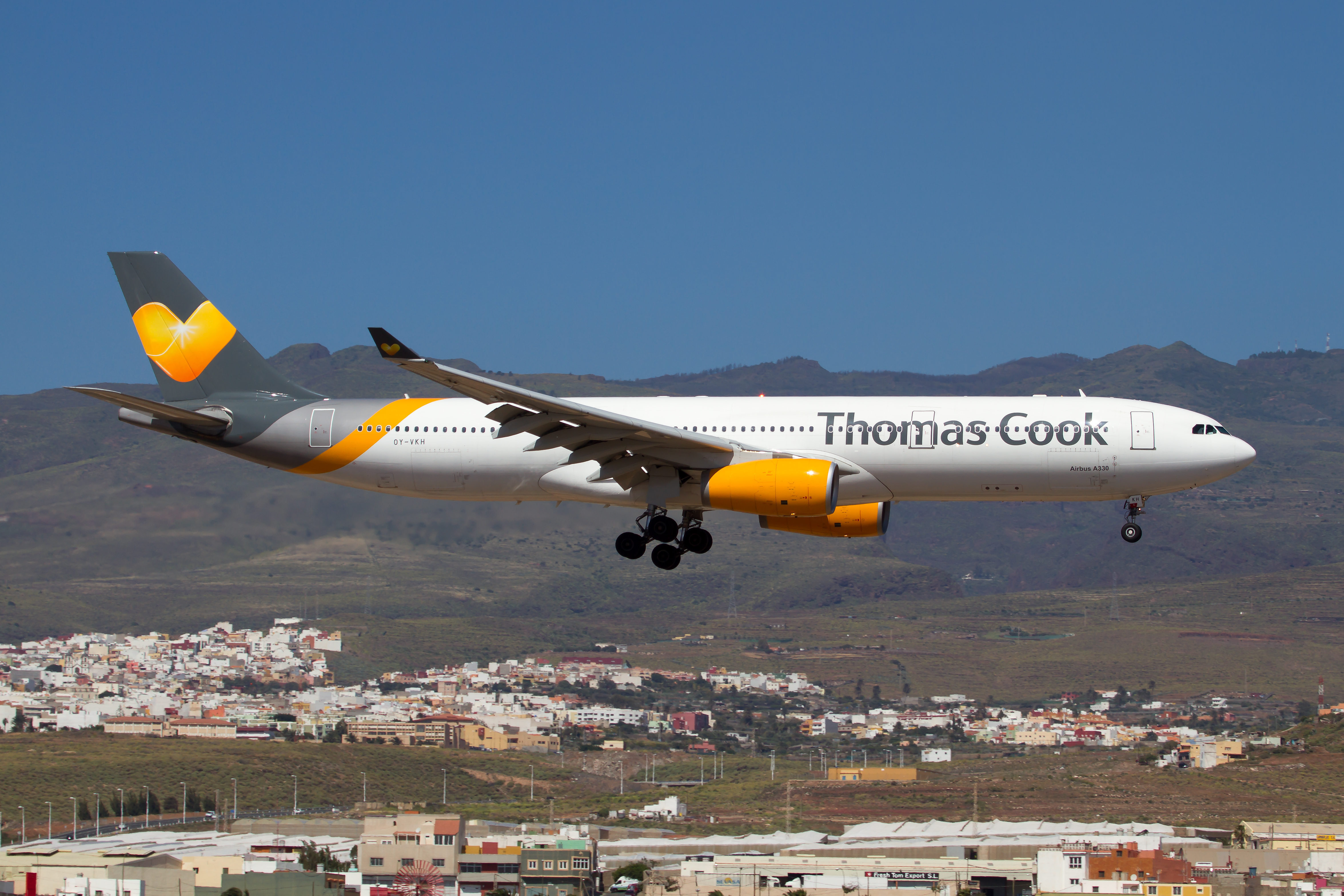 A Thomas Cook plane coming on for a landing.
