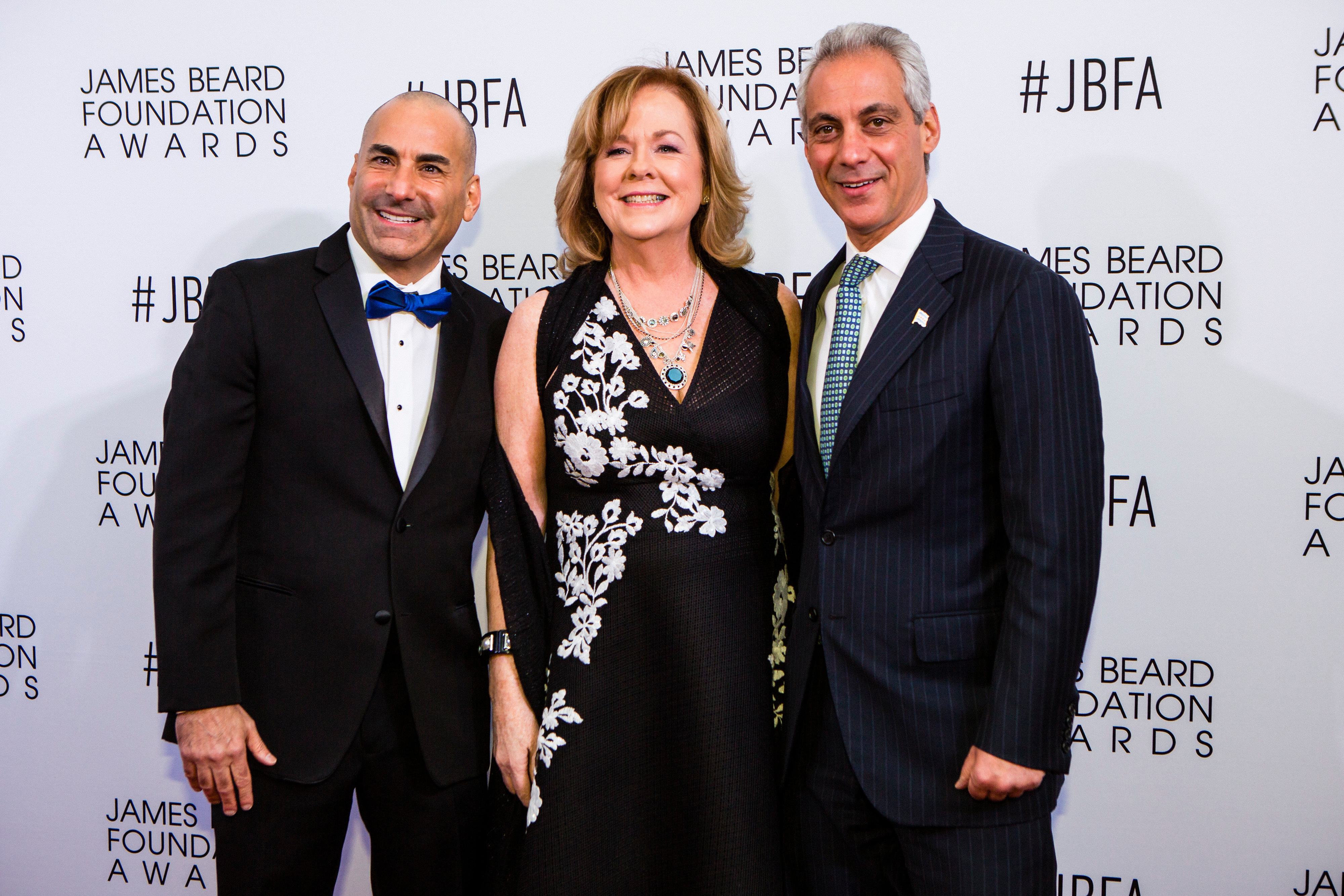 Illinois Restaurant Association President Sam Toia (left) with Susan Ungaro, president of the James Beard Foundation, and then-Mayor Rahm Emanuel at the 2016 James Beard Awards in Chicago.