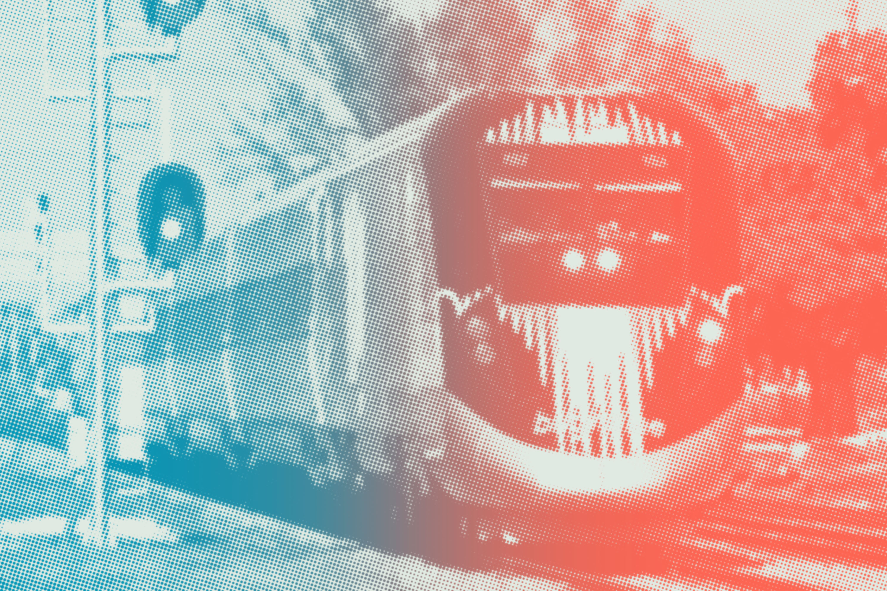 A sleek, aerodynamic high-speed rail train in Florida passes through an intersection. The photo has a graphic red and blue treatment themed to the election.