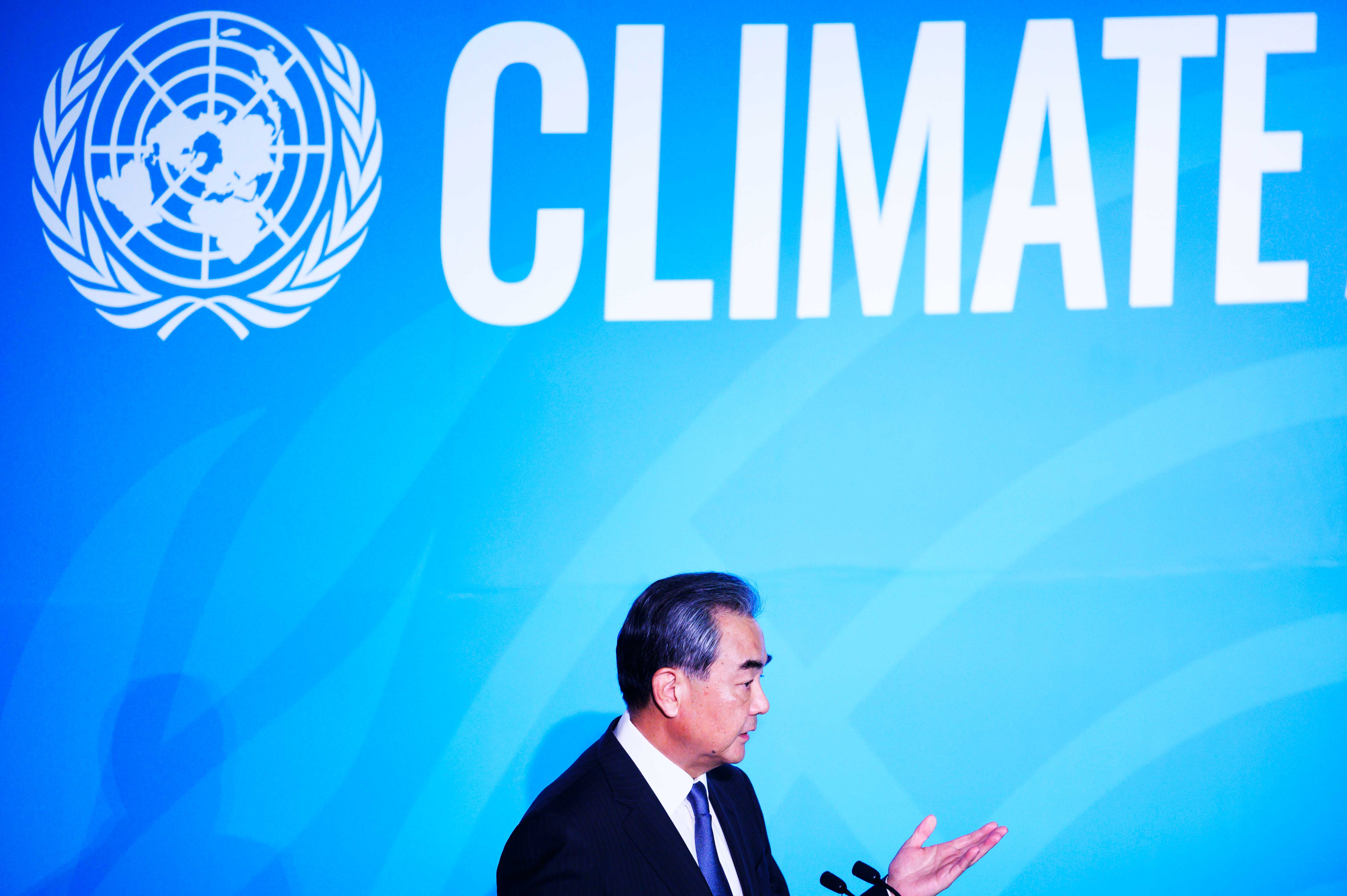 Chinese State Councilor Wang Yi on stage during the UN Climate Action Summit.