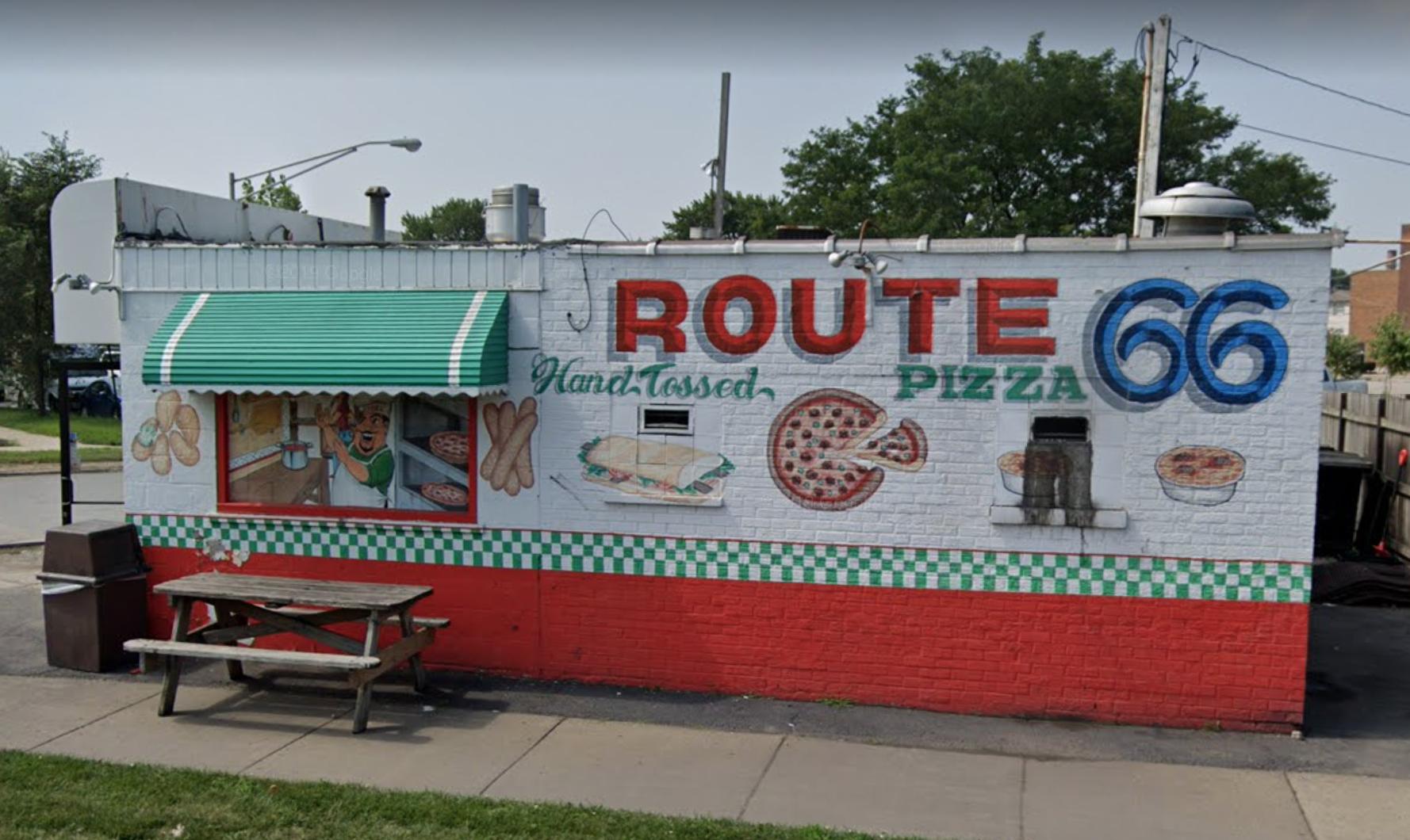 The exterior of a pizzeria.