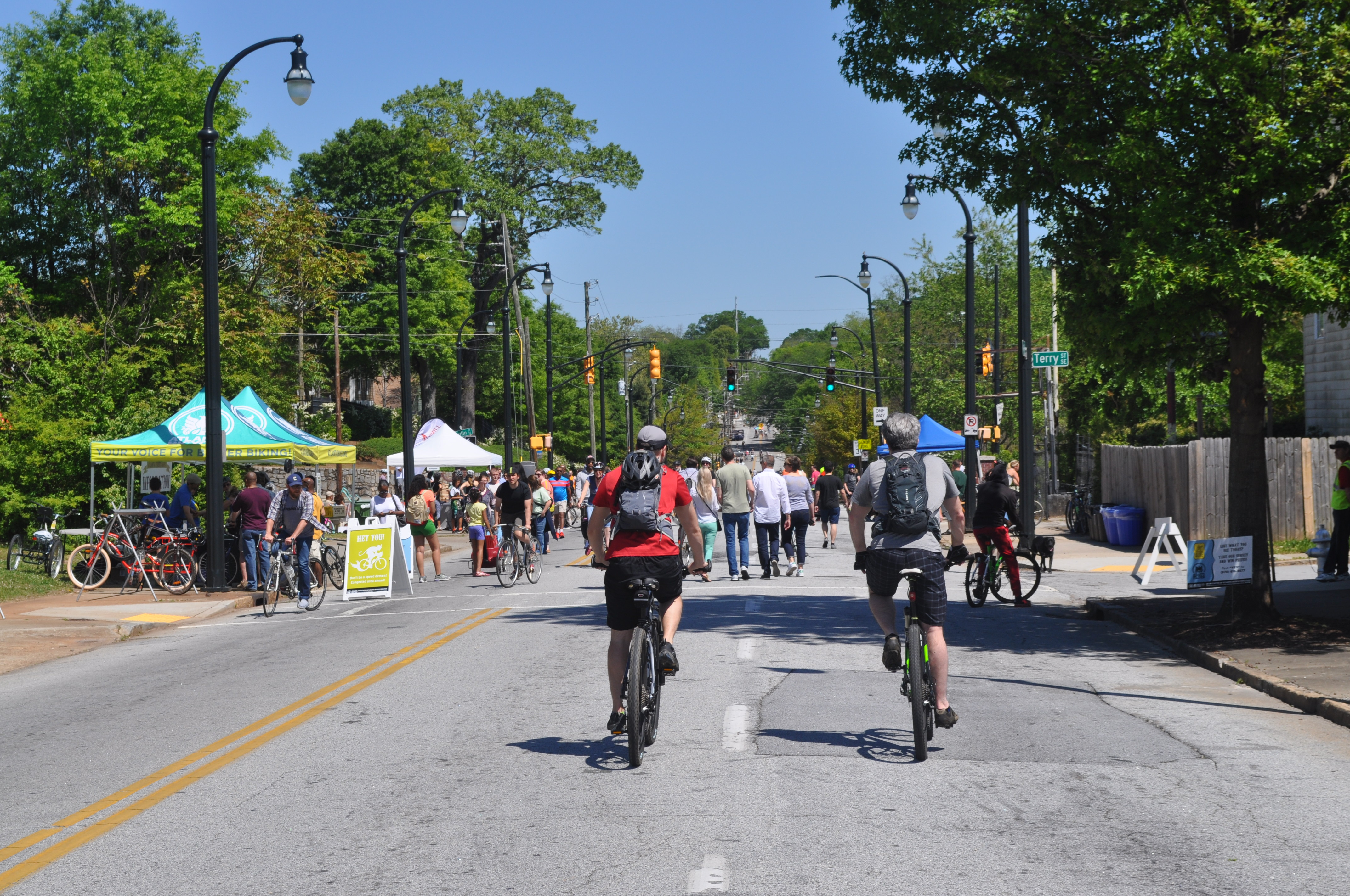 Cyclists and pedestrians take up all the car lanes.