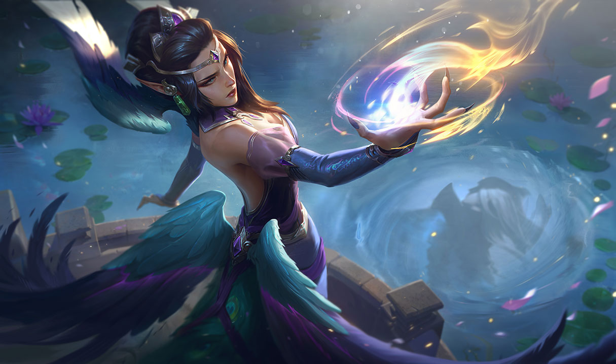 Majestic Empress Morgana wields some power in her hand, while a pond in front of her reflects Enduring Sword Talon