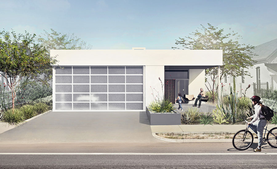 Rendering of a low-slung modern house with a white facade and a garage behind translucent screens. Desert climate plants are in the front yard.