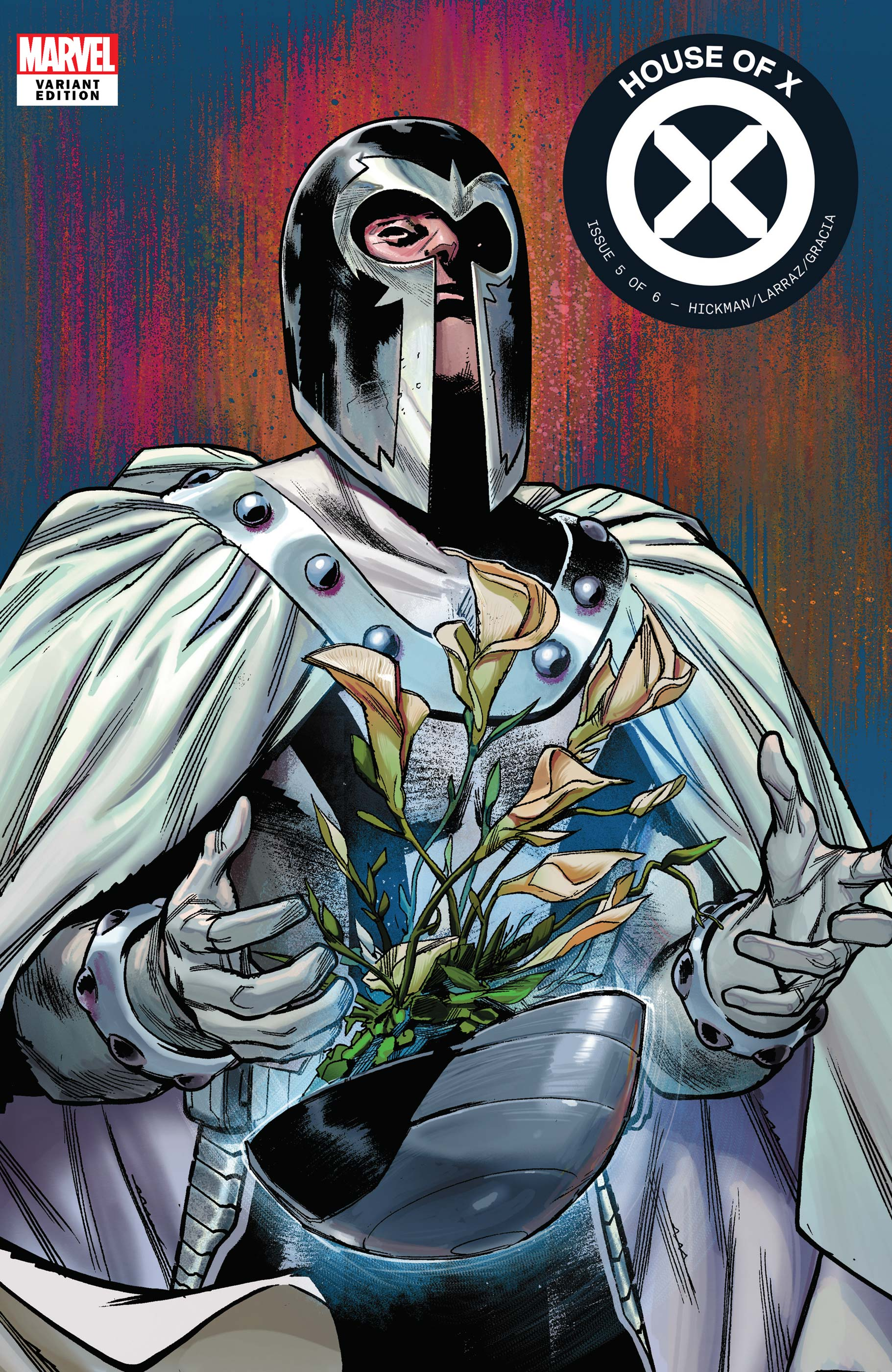 The cover art of a House of X comic shows a robed character in a keyhole helmet.