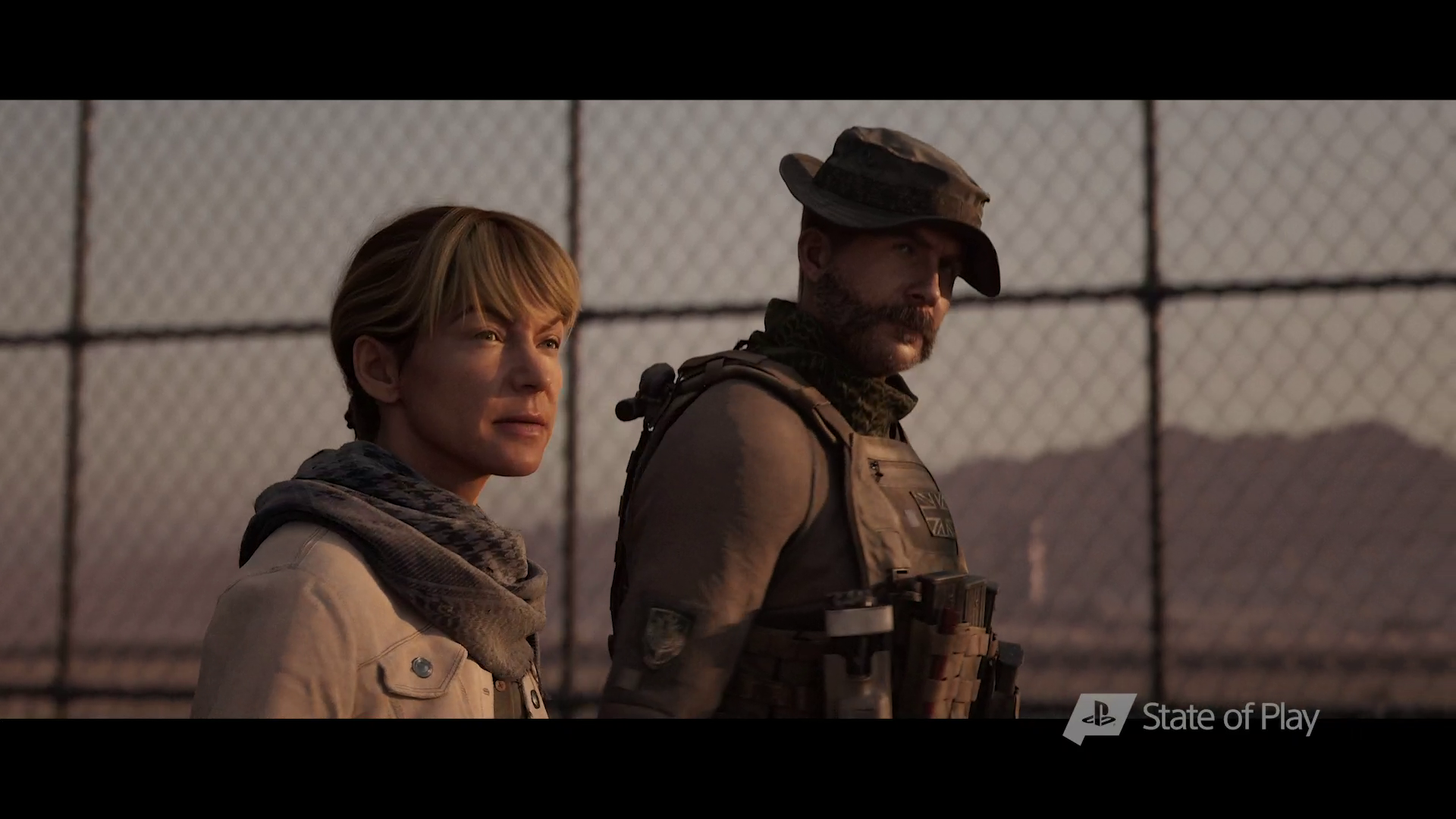 a woman and Capt. Price in front of a fence in Call of Duty: Modern Warfare