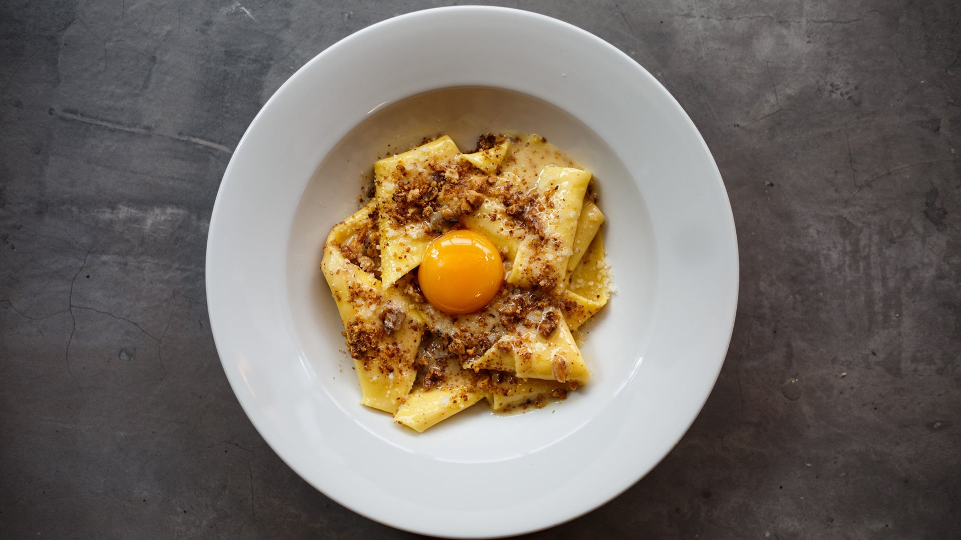Pappardelle with egg yolk and nuts at Bancone in Covent Garden, one of the best pasta restaurants in London