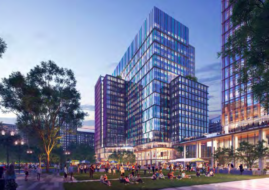 A rendering of a tall office building off a public park. The building is terraced and glassy.