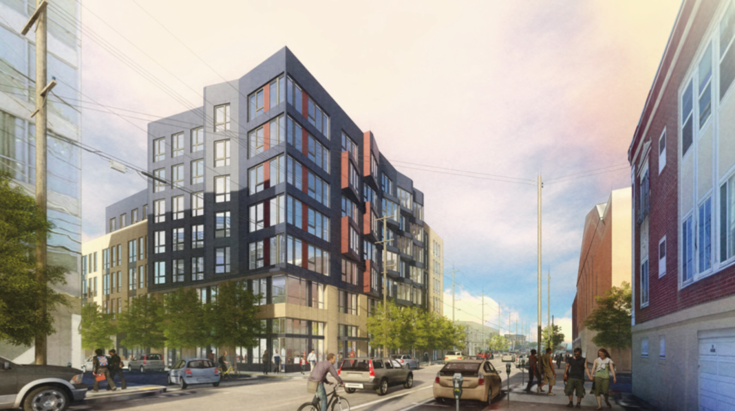 A rendering of a seven-story building with a black facade.