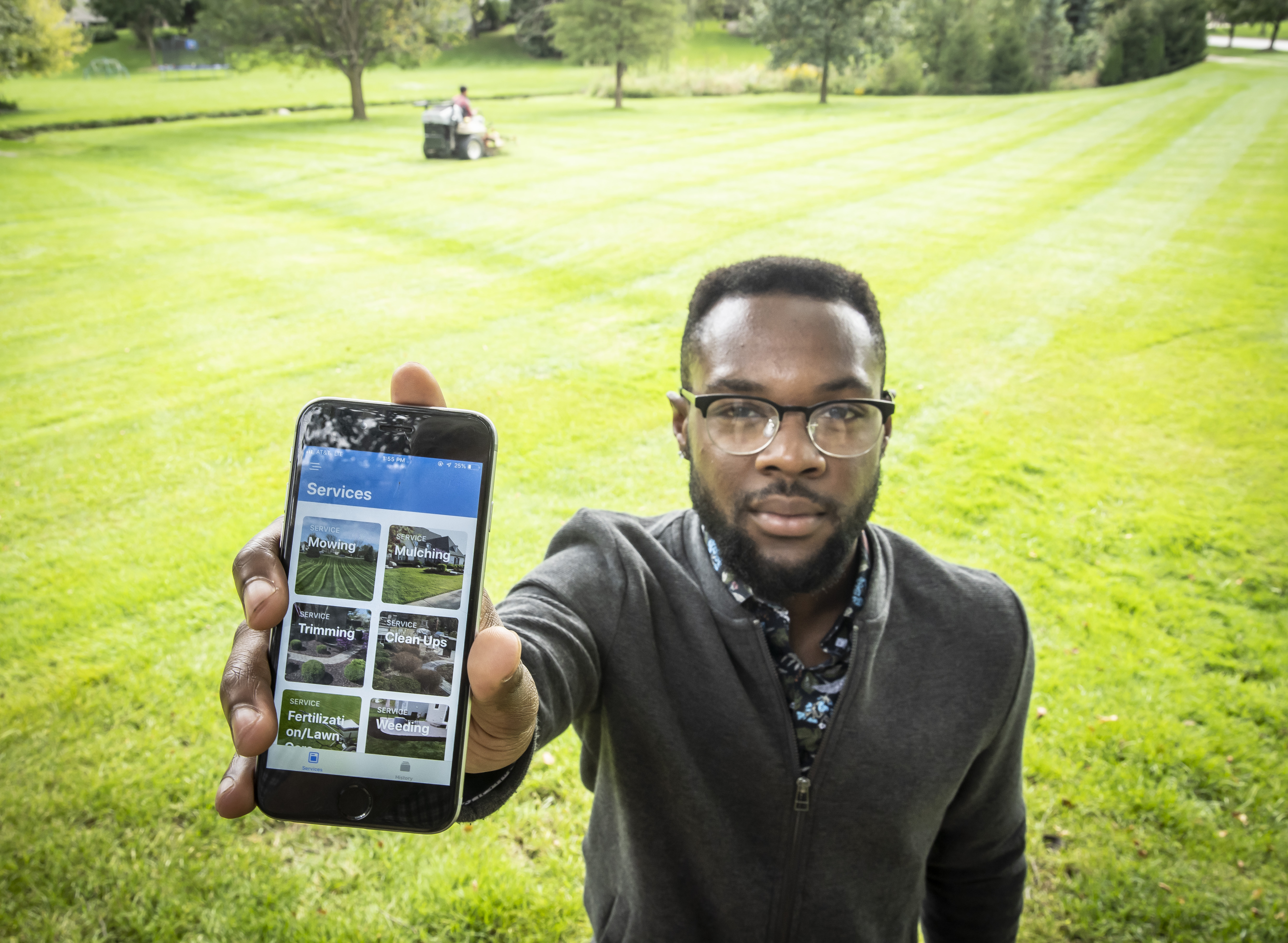 Through the Future Founders program, Moe Mitchell, a 22-year-old North Central College senior, created an Uber-like lawn-care mobile app that helped him run the business more efficiently while making it more convenient for his customers and work crews.