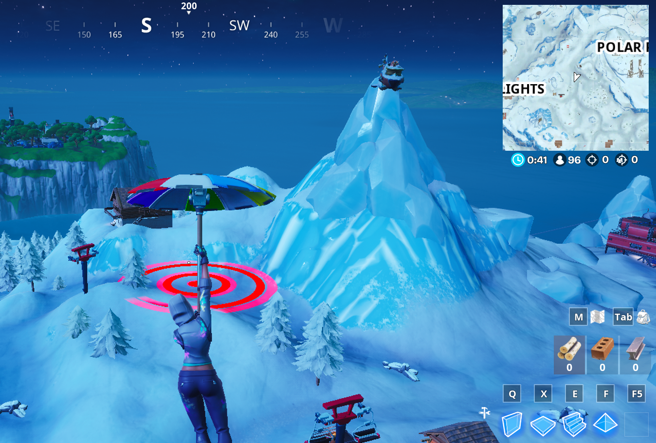 A Fortnite player glides toward a bullseye mission objective