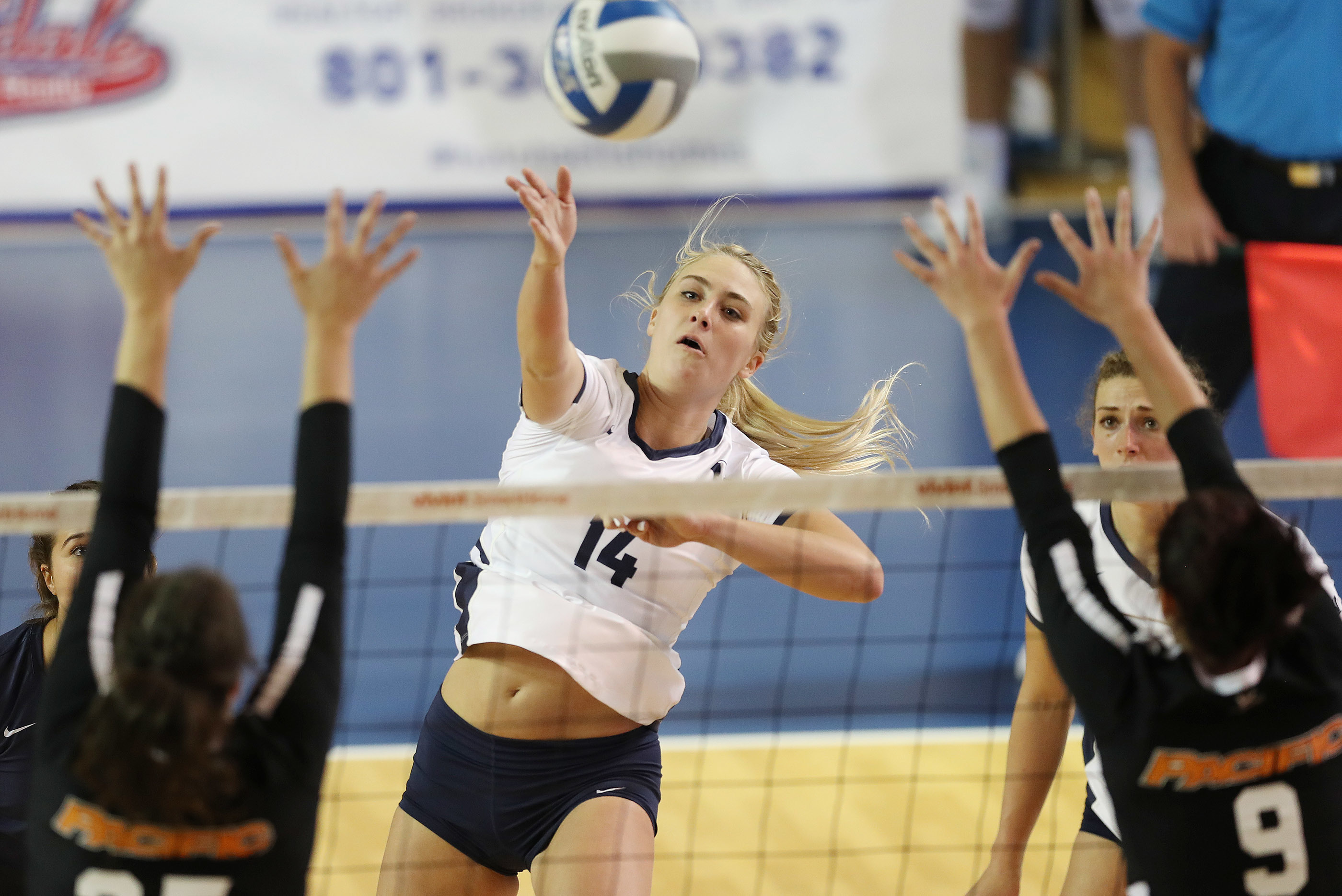 BYU's McKenna Miller hits against Pacific in Provo on Thursday, Sept. 20, 2018. BYU won 3-0.