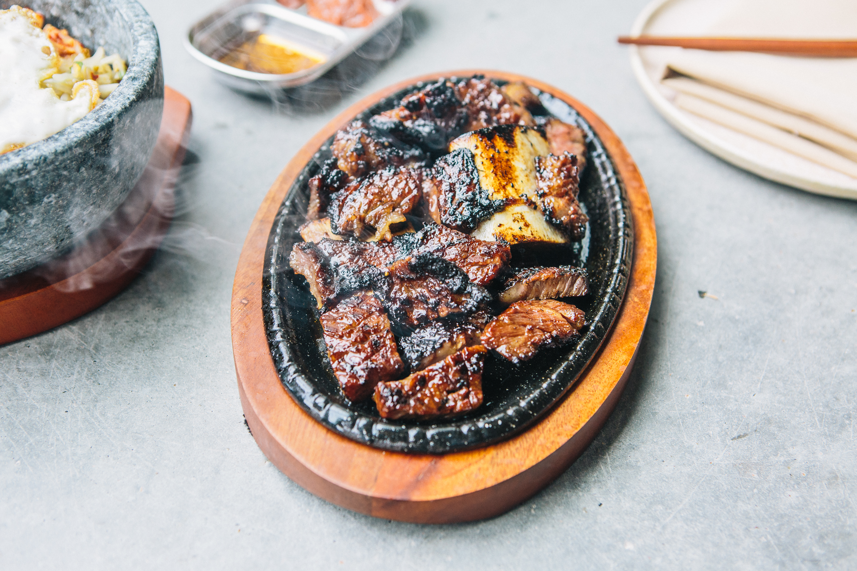 Kalbi (marinated beef short rib) at Oseyo