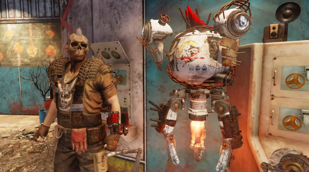 A raider stands menacingly next to a floating robot.