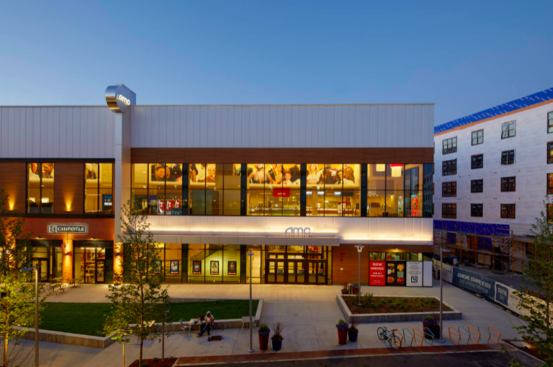 A shopping center that features a movie theater.