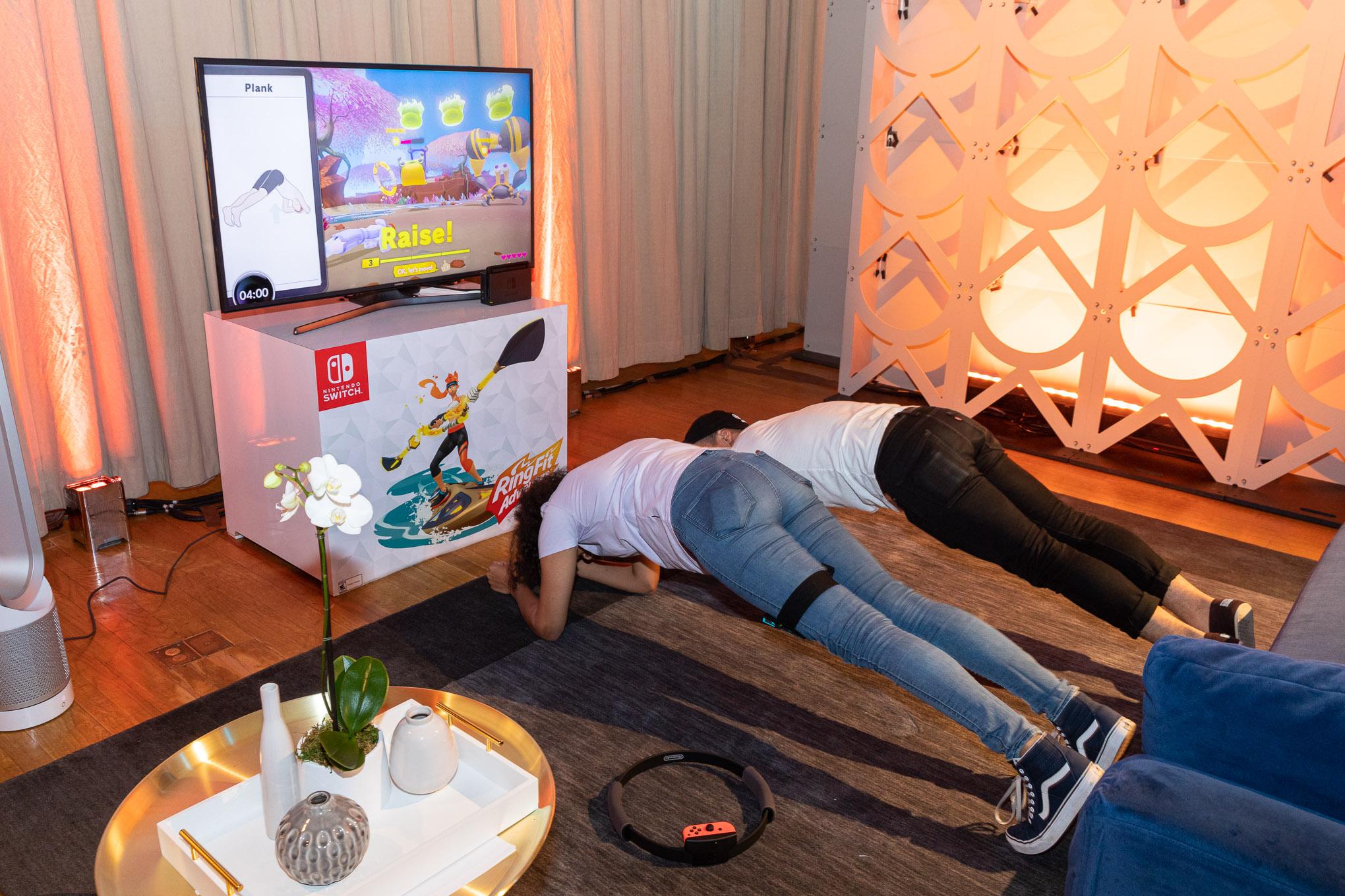 Allegra planking on the ground.