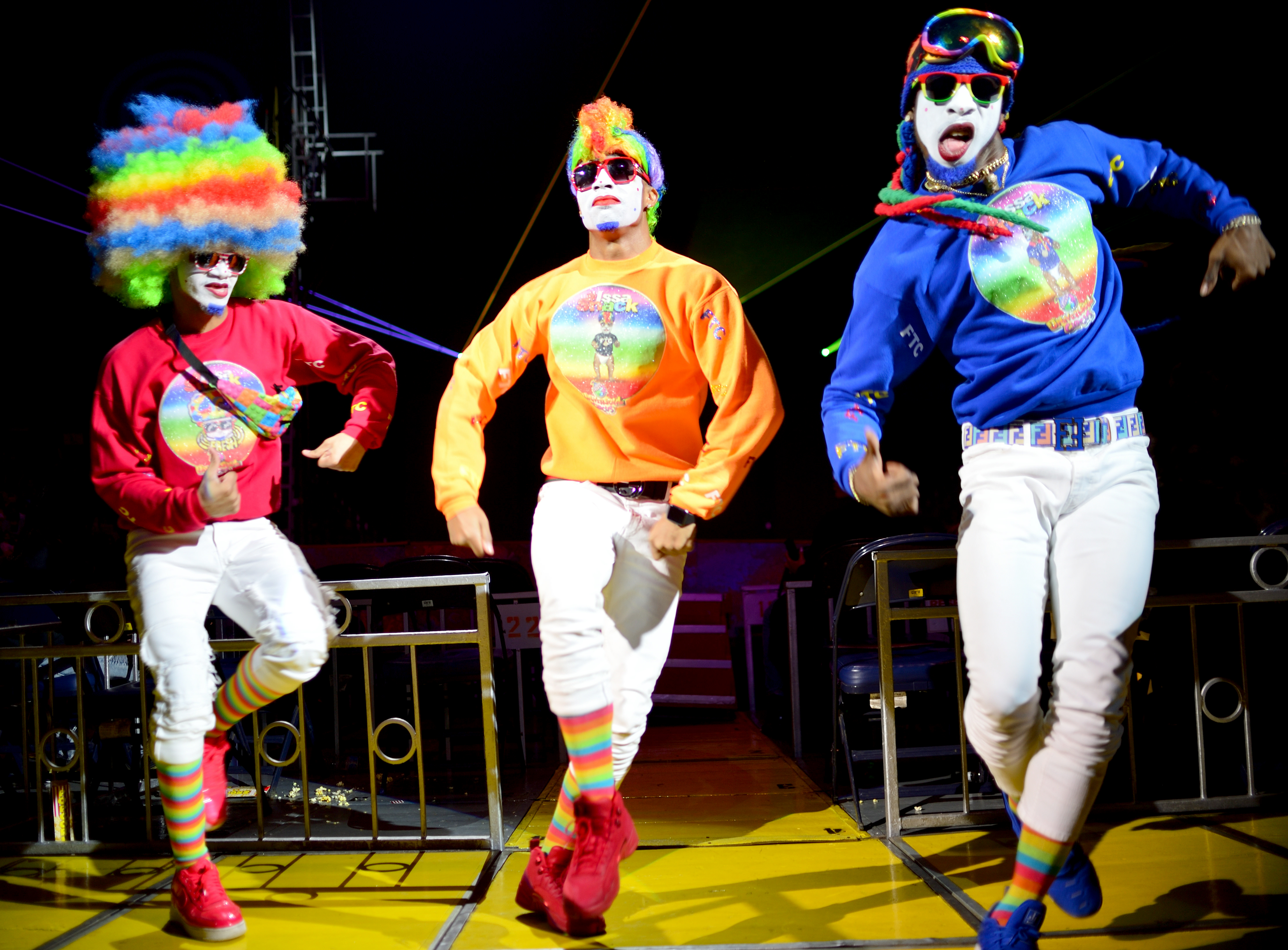 "Clowns perform at the UniverSoul Circus, billed as ""the coolest show on Earth."""