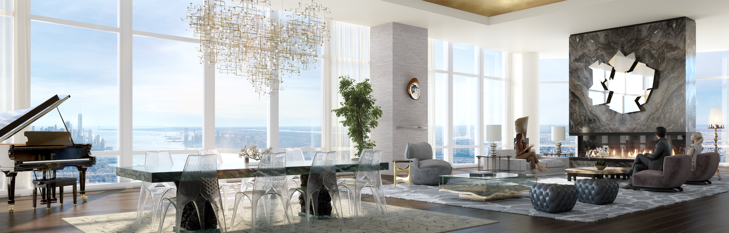 A penthouse in a skyscraper showing floor-to-ceiling windows, views of the Manhattan skyline, a fireplace, a rectangular dining table and a living area with several couches on the right side.