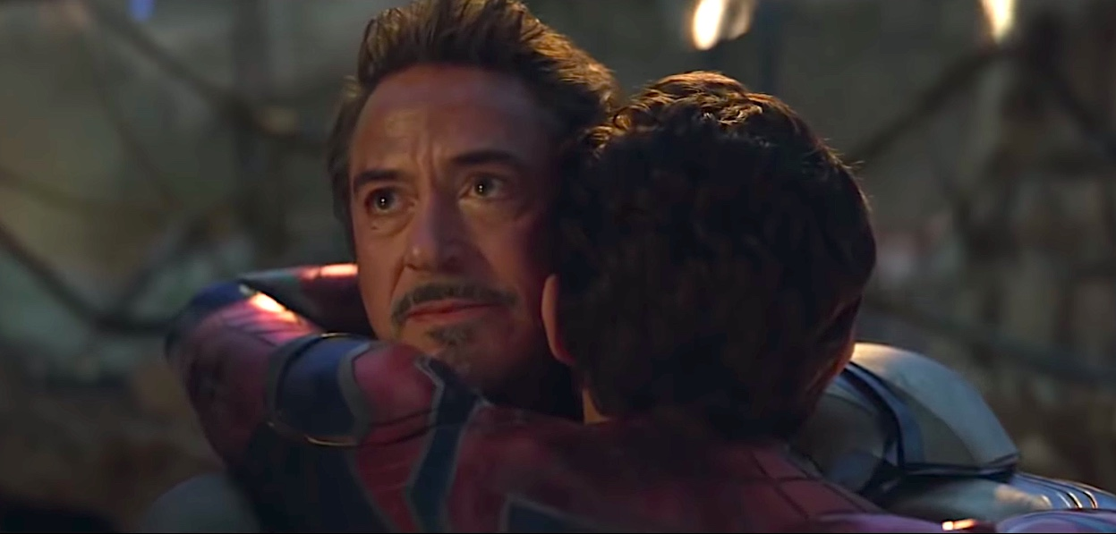 Tony Stark hugs a resurrected Peter Parker in Avengers: Endgame.