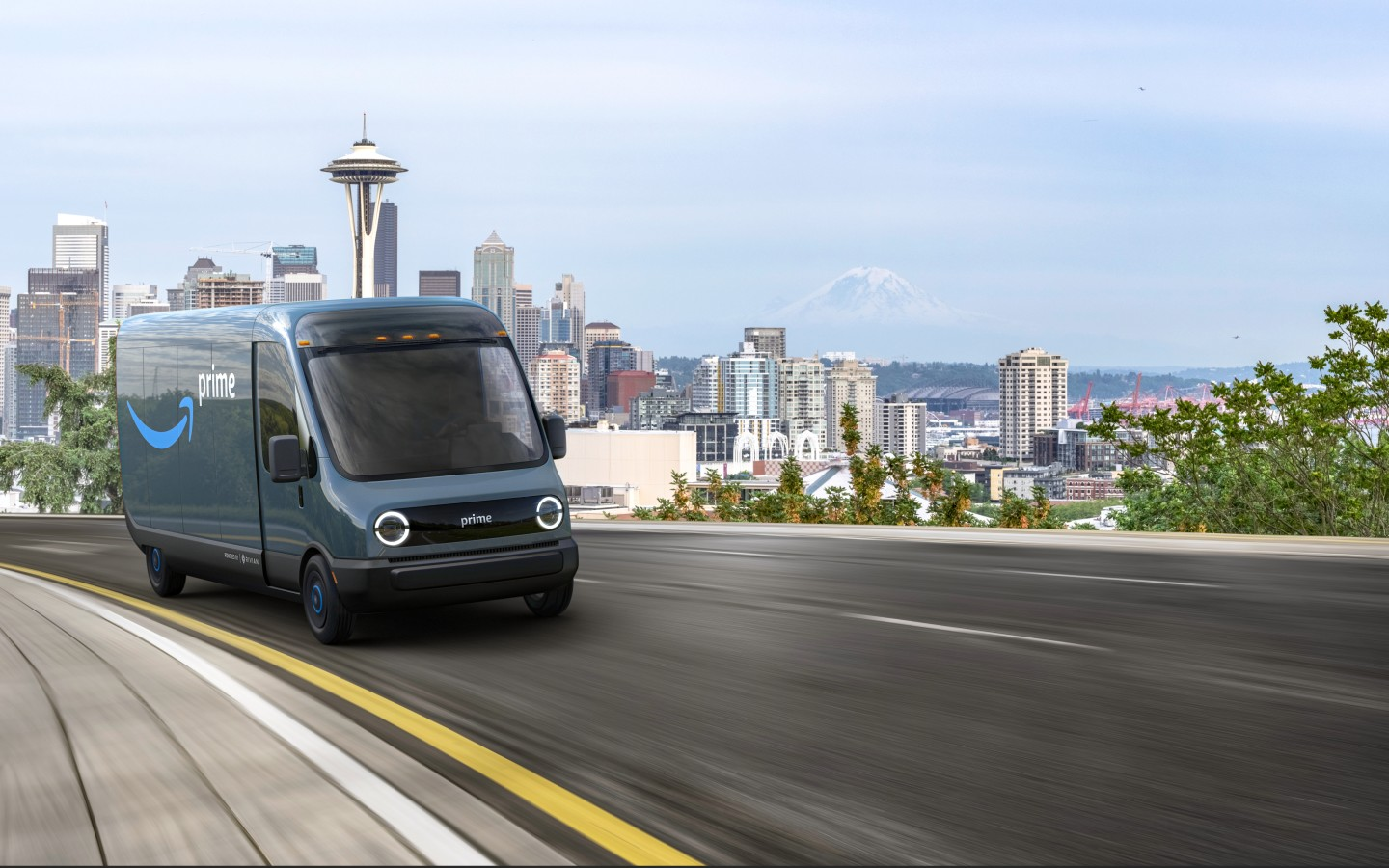 Rendering of van driving up a road. A view of densely clustered buildings is in the distance.