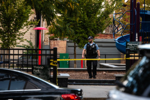 Chicago police investigate the scene where a man was shot, Saturday evening, in the 1800 block of South Throop in Pilsen.