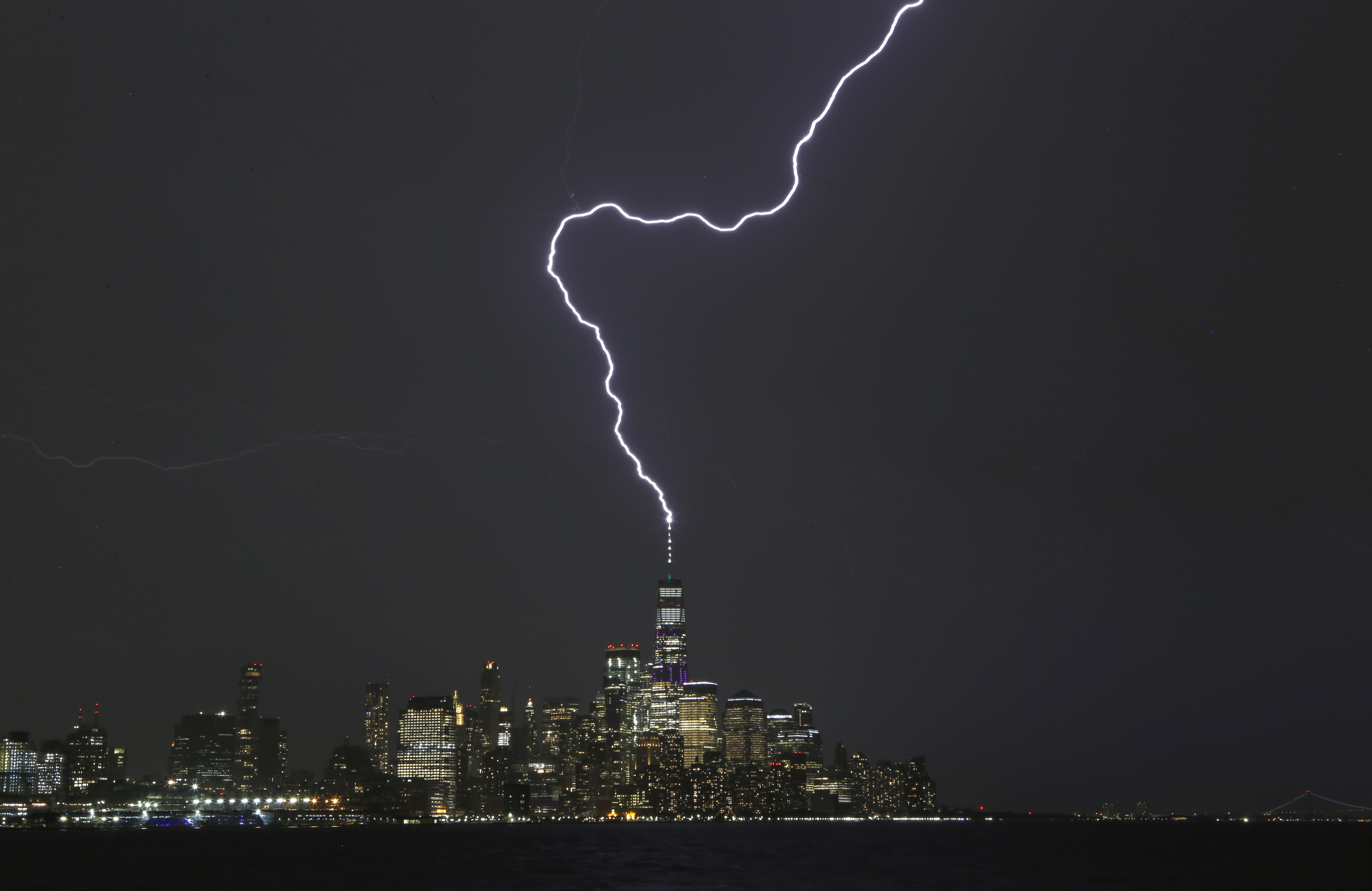 Lightning Strikes One World Trade Center in New York City