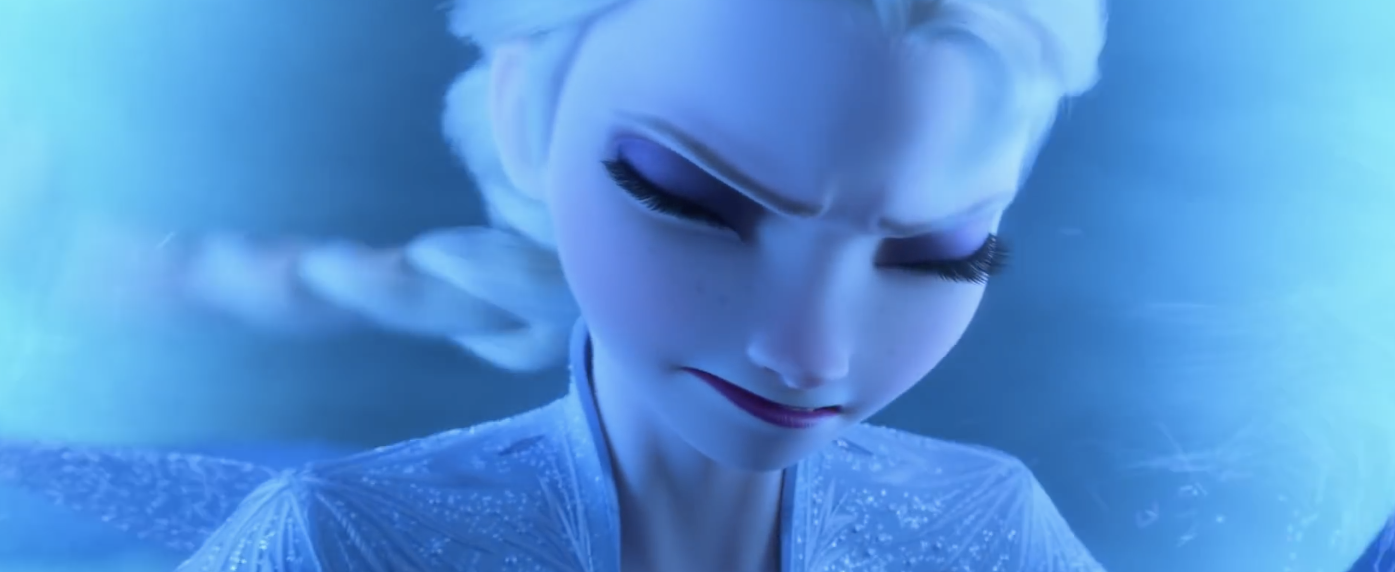Elsa concentrates very hard while using her powers