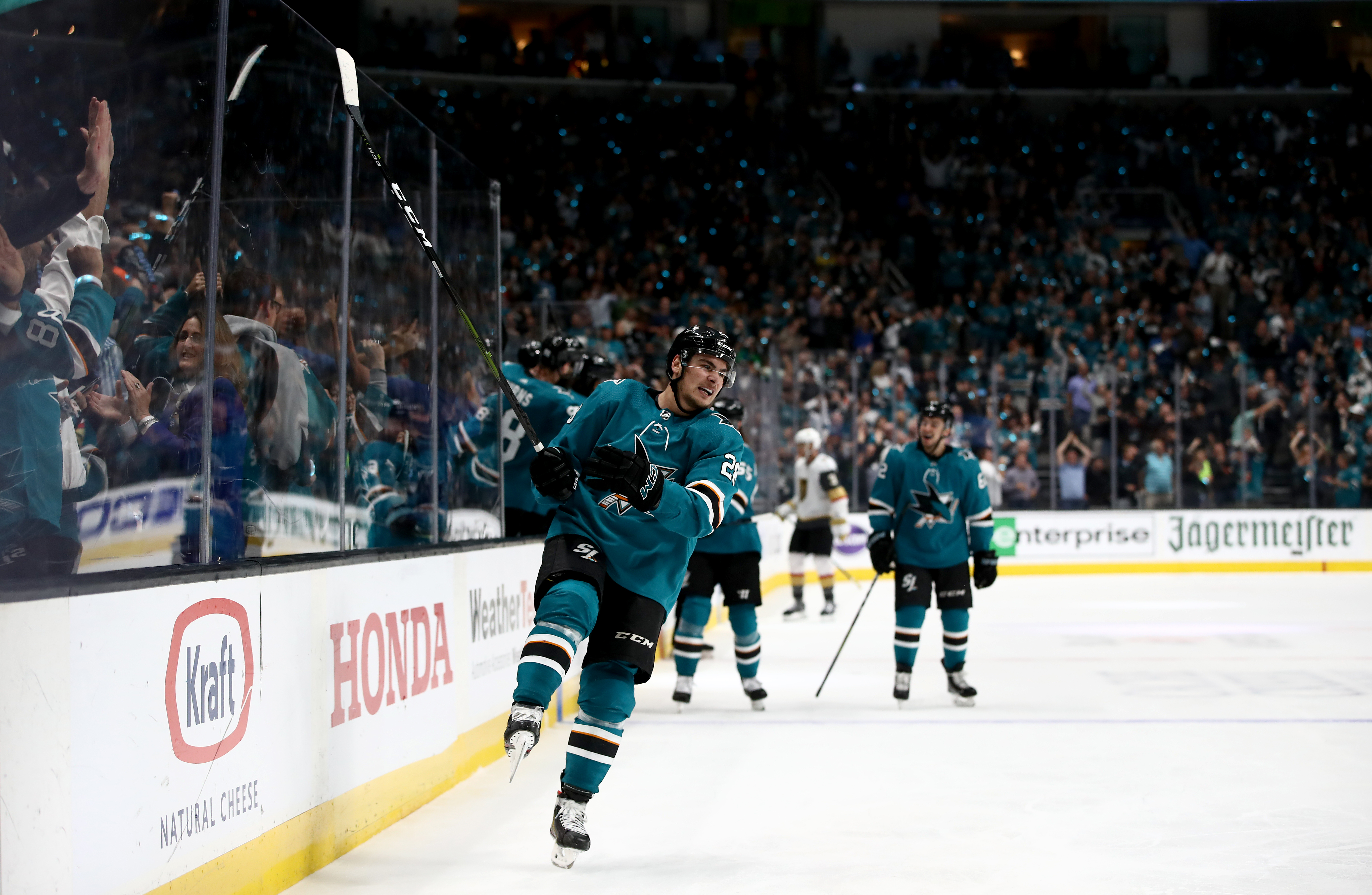 Timo Meier #28 of the San Jose Sharks reacts after the Sharks scored a go-ahead go against the Vegas Golden Knights in Game Seven of the Western Conference First Round during the 2019 NHL Stanley Cup Playoffs at SAP Center on April 23, 2019 in San Jose