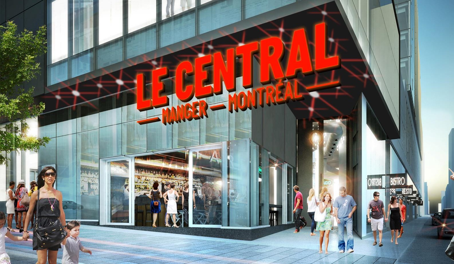 An architect's rendering of Le Central as seen from its window-lined exterior.
