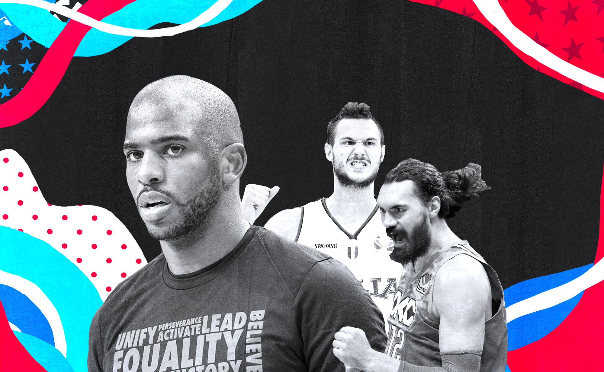 A collage of Chris Paul, Danilo Gallinari, and Steven Adams of the Thunder.