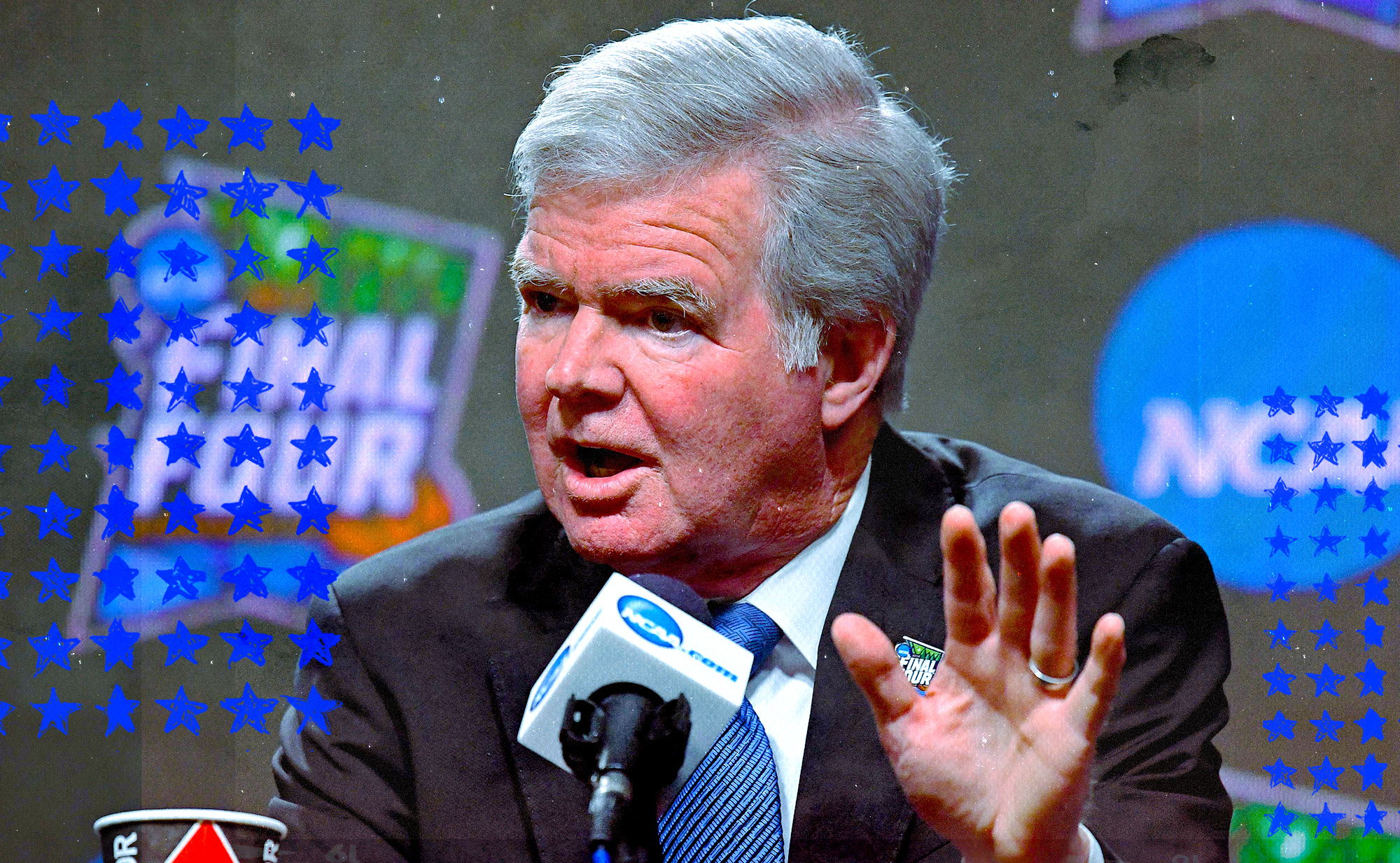 NCAA president Mark Emmert speaking at a news conference.