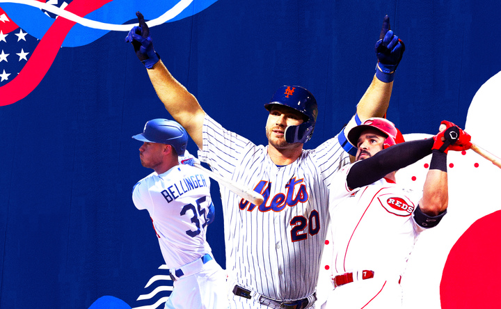 Peter Alonso, the Mets extremely good home run masher, on a colorful background for a post about MLB home run records.
