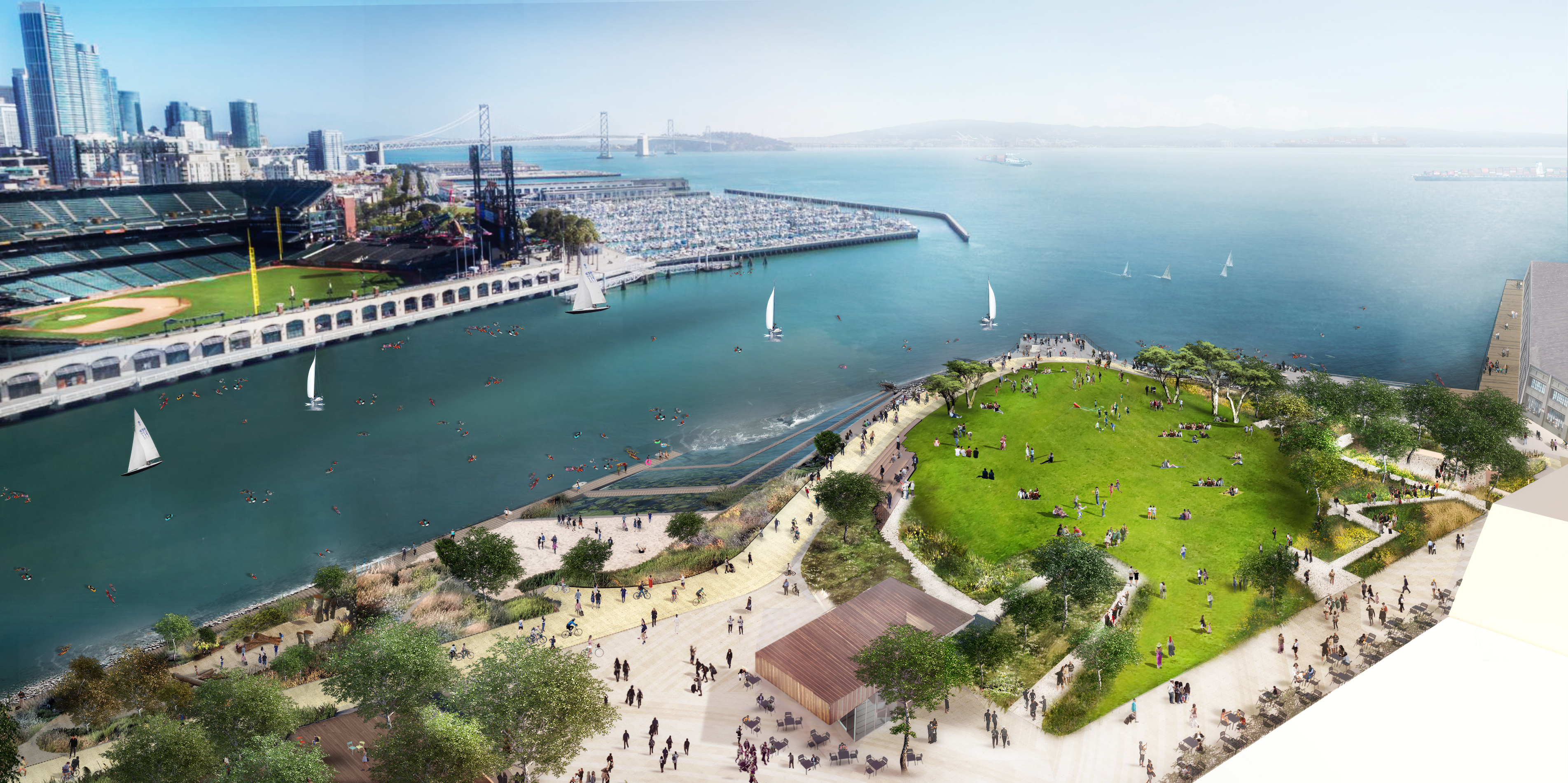 An illustration depicting a beach and grassy park right across a narrow bay from the ballpark.