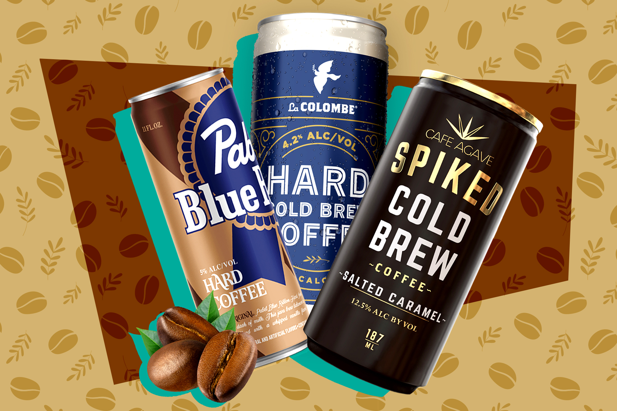 Cans of PBR, La Colombe, and Cafe Agave versions of hard coffee.