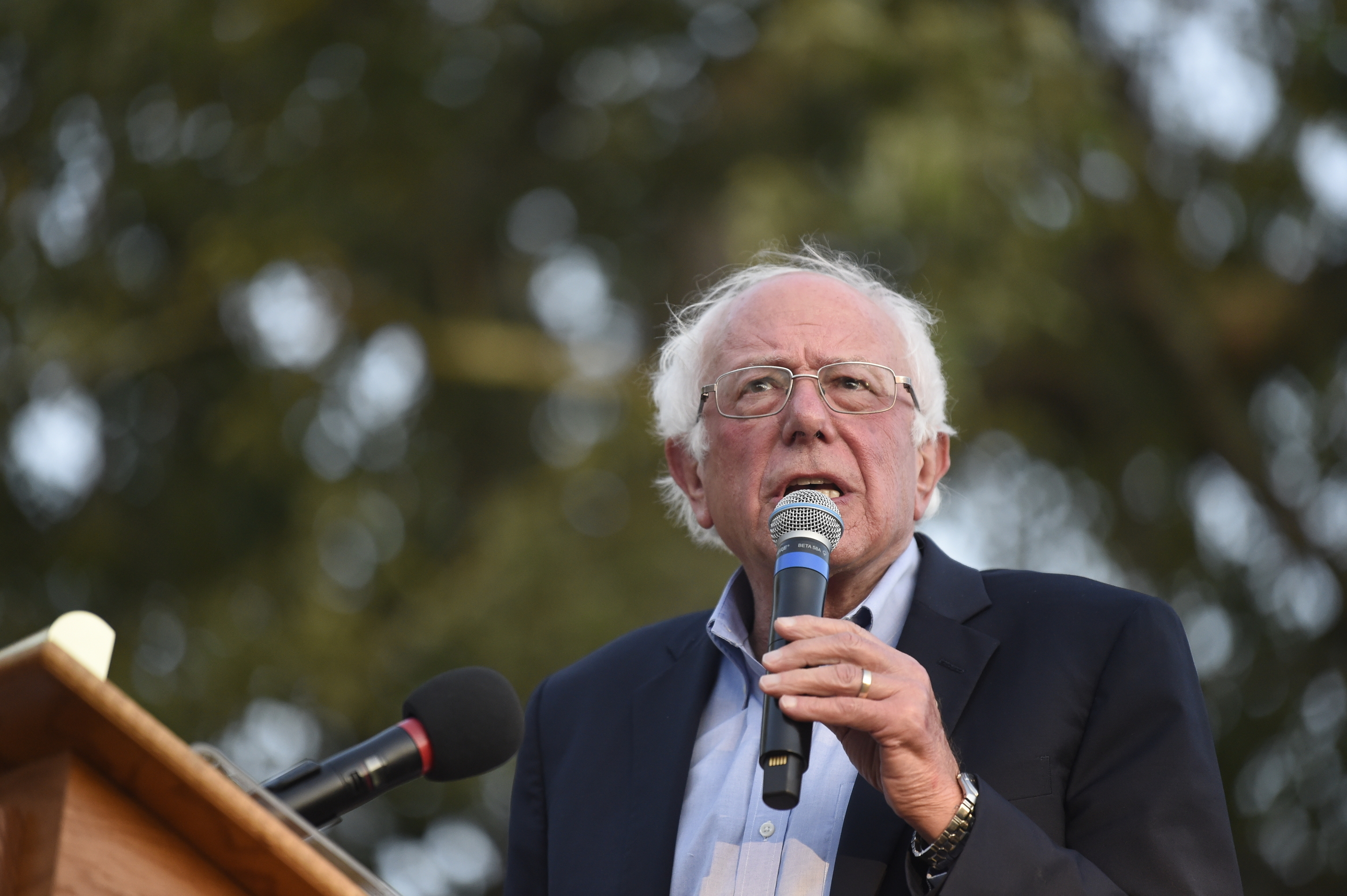 Democratic presidential contender U.S. Sen. Bernie Sanders, from Vermont, addresses a crowd at Winthrop University as part of his college campus tour, Friday, Sept. 20, 2019, in Rock Hill, S.C.