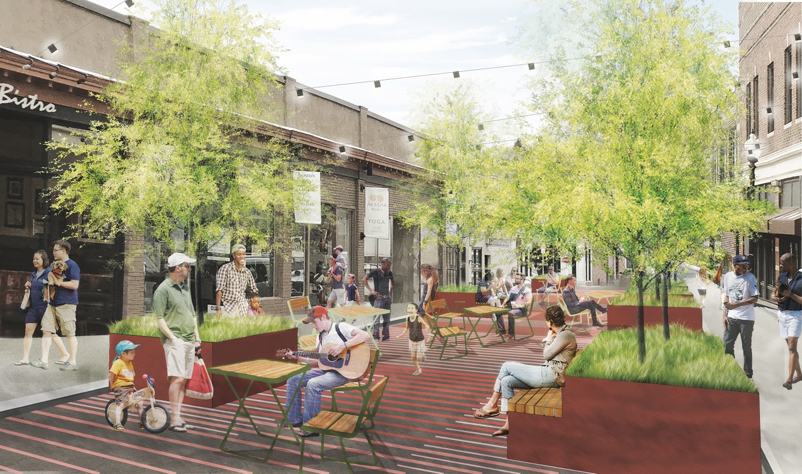 A rendering of a pedestrian plaza in Boston, with people milling about and sitting.