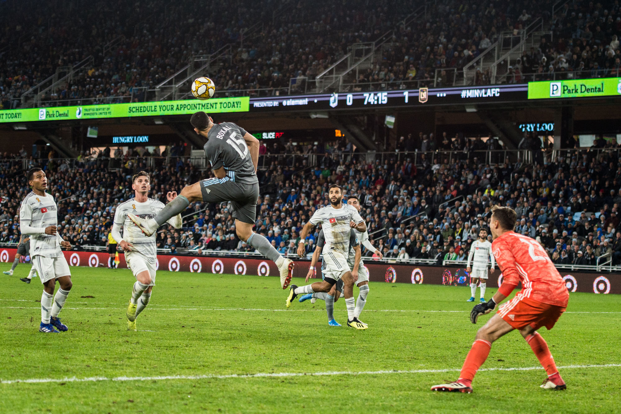 September 29, 2019 - Saint Paul, Minnesota, United States -Micheal Boxall scores a goal during an MLS match between Minnesota United and Los Angeles Football Club at Allianz Field (Photo: Tim C McLaughlin)