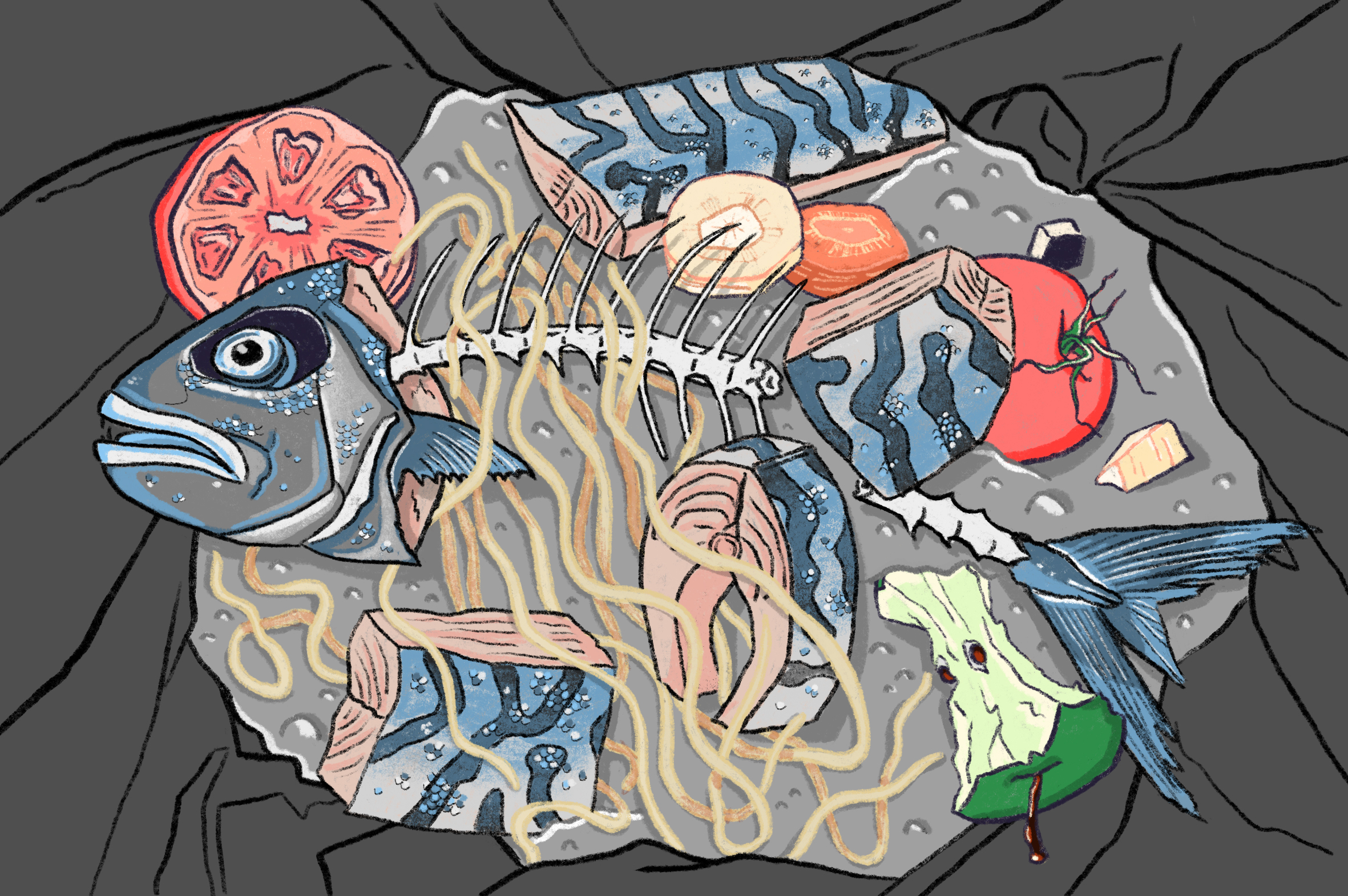 An illustration of a fish skeleton and fish meat in the garbage.