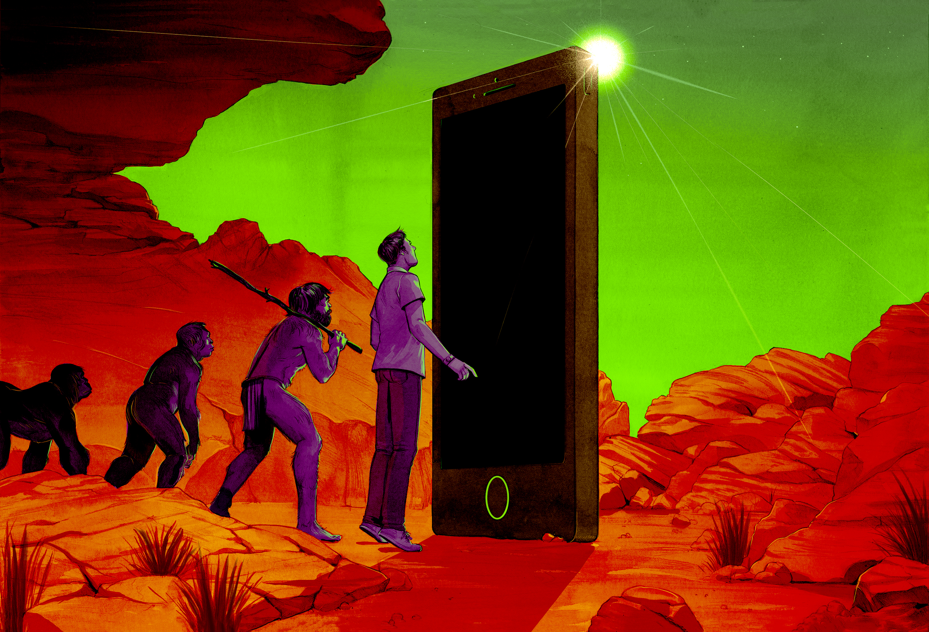 An illustration showing an ape, then a caveman, and then a modern human who is staring up at a gigantic phone like an obelisk.