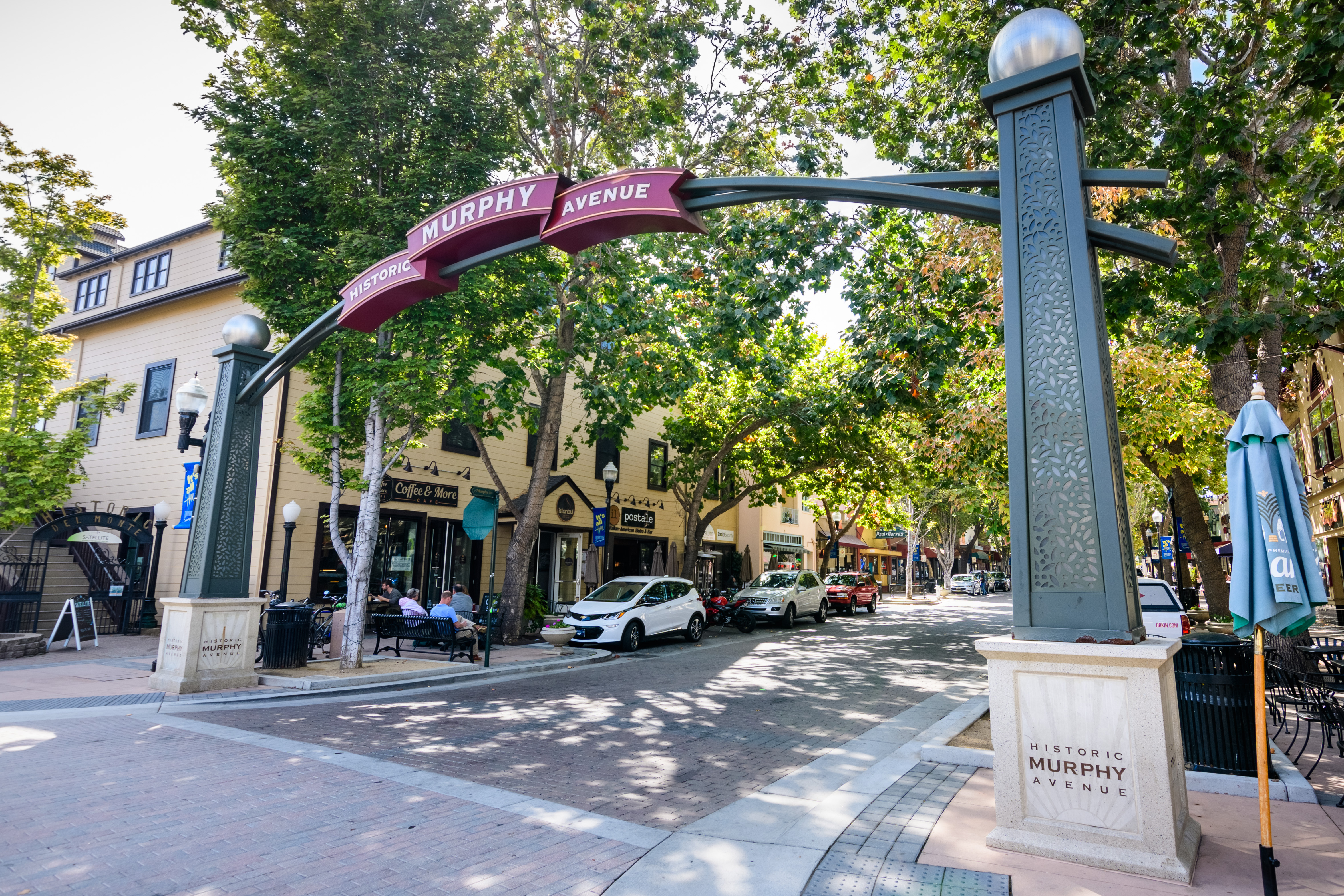 """Gate over a street reading """"Murphy Historic Avenue."""" The street as a lot of trees bordering it."""
