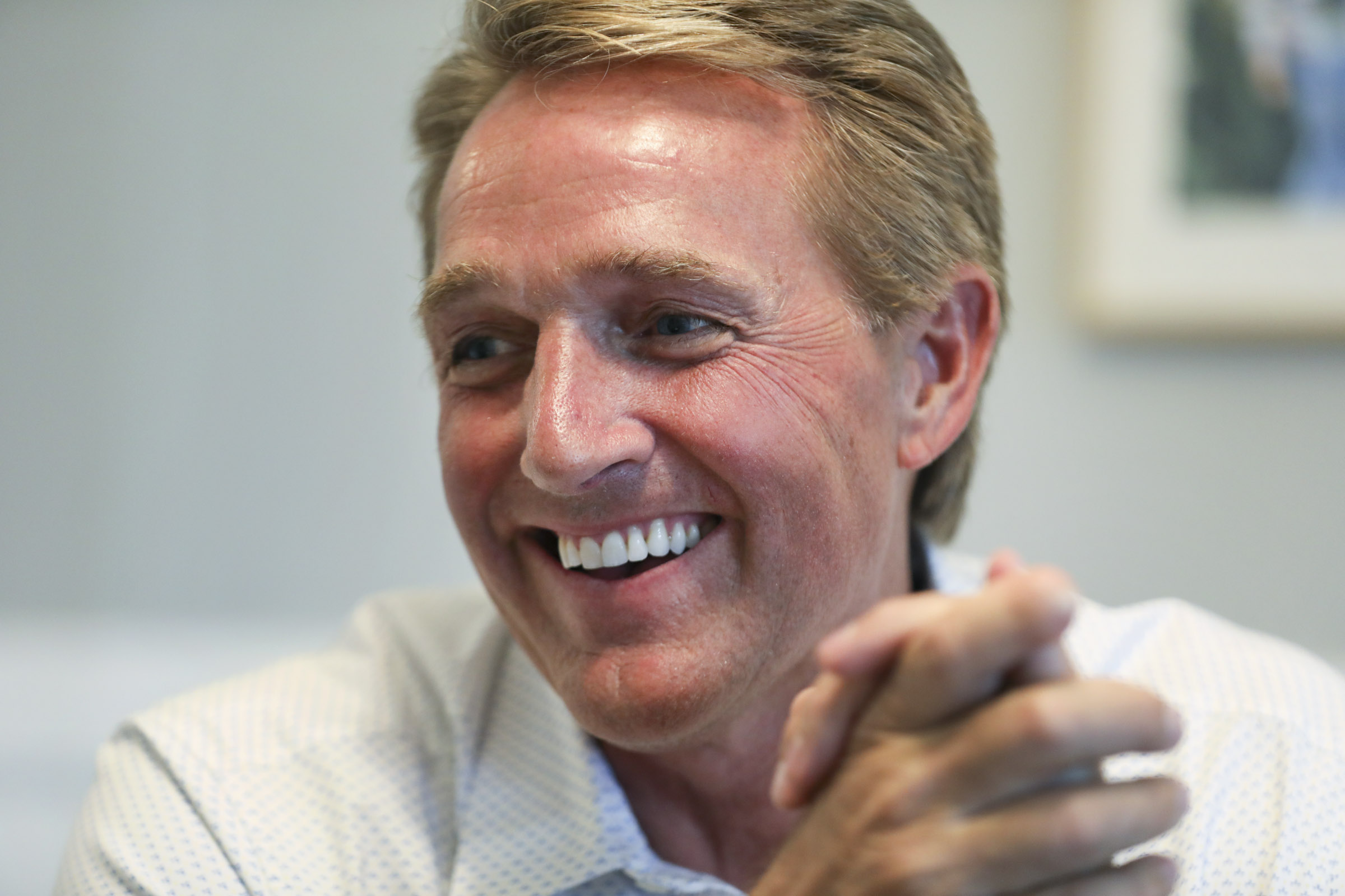 Former Sen. Jeff Flake talks about what he is doing a year after he stepped down from the Senate and how he plans to remain a voice for conservatism during an interview in Provo on Wednesday, July 31, 2019.