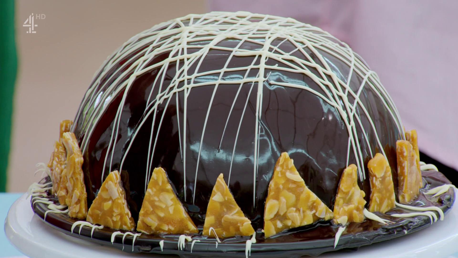 A chocolate bombe on Great British Bake Off 2019 Dessert Week