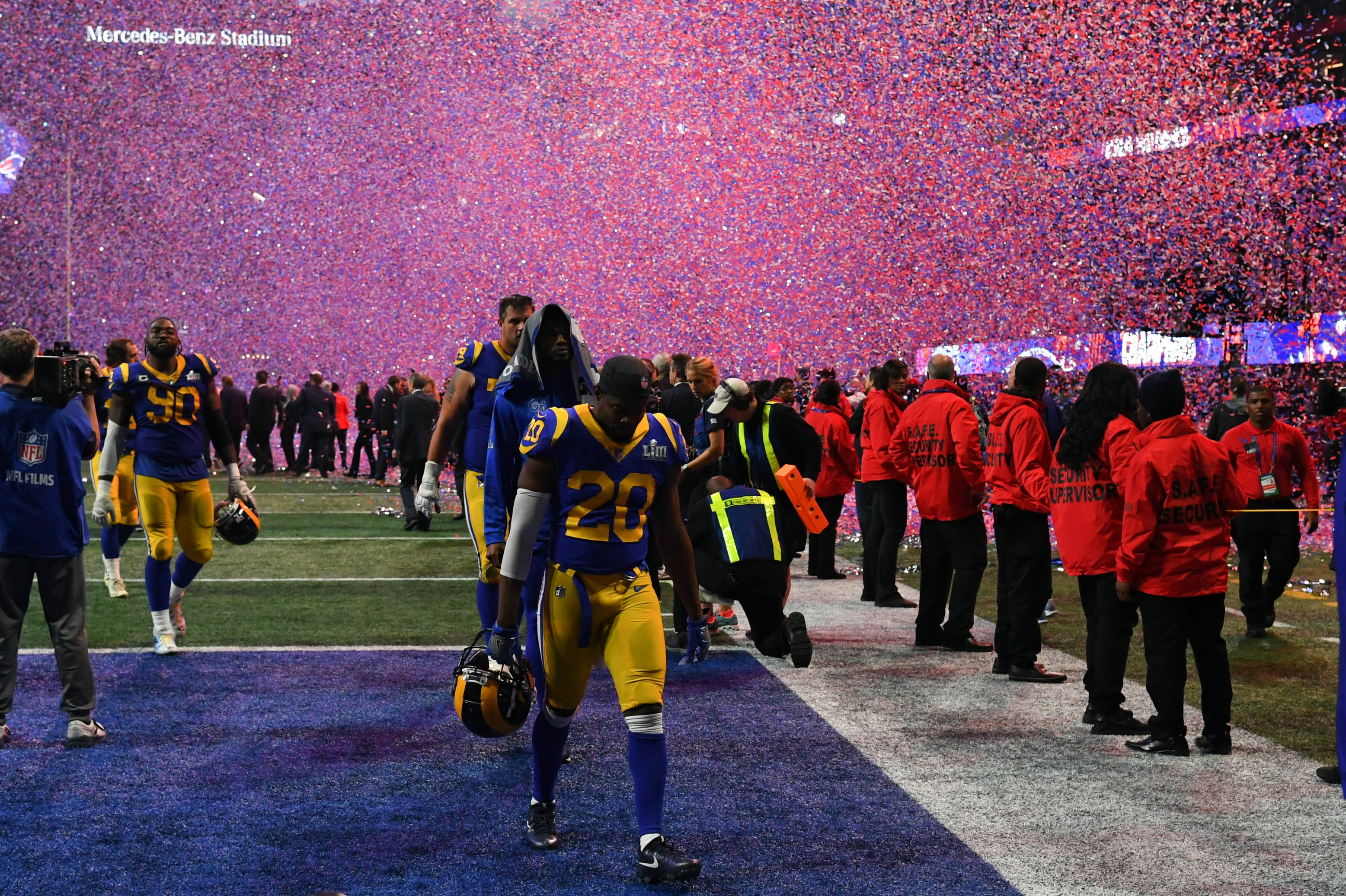 Los Angeles Rams S Lamarcus Joyner walks off the field after Super Bowl LIII against the New England Patriots, Feb. 3, 2019.