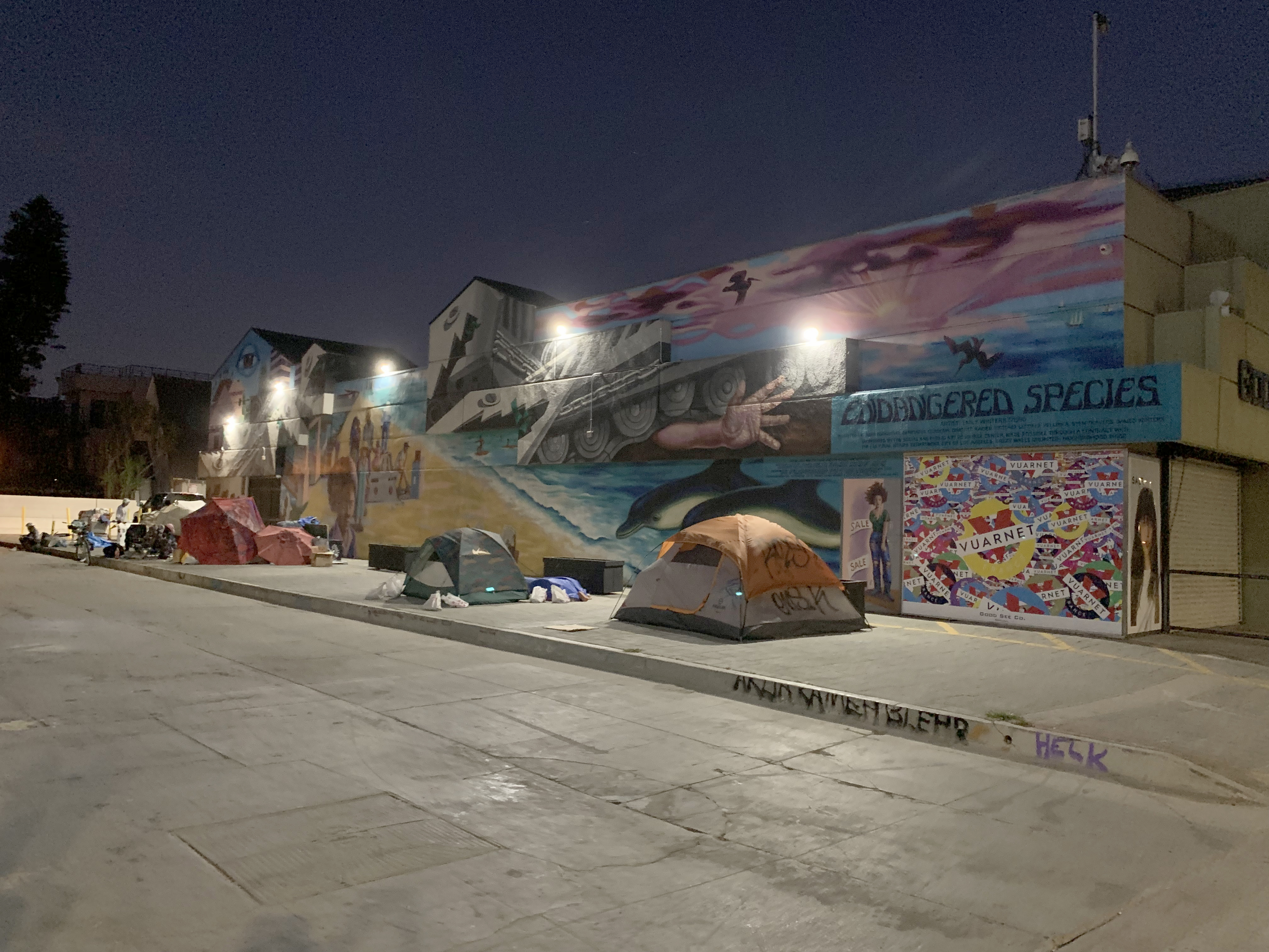 Homeless tents on a sidewalk under a colorful mural at night.